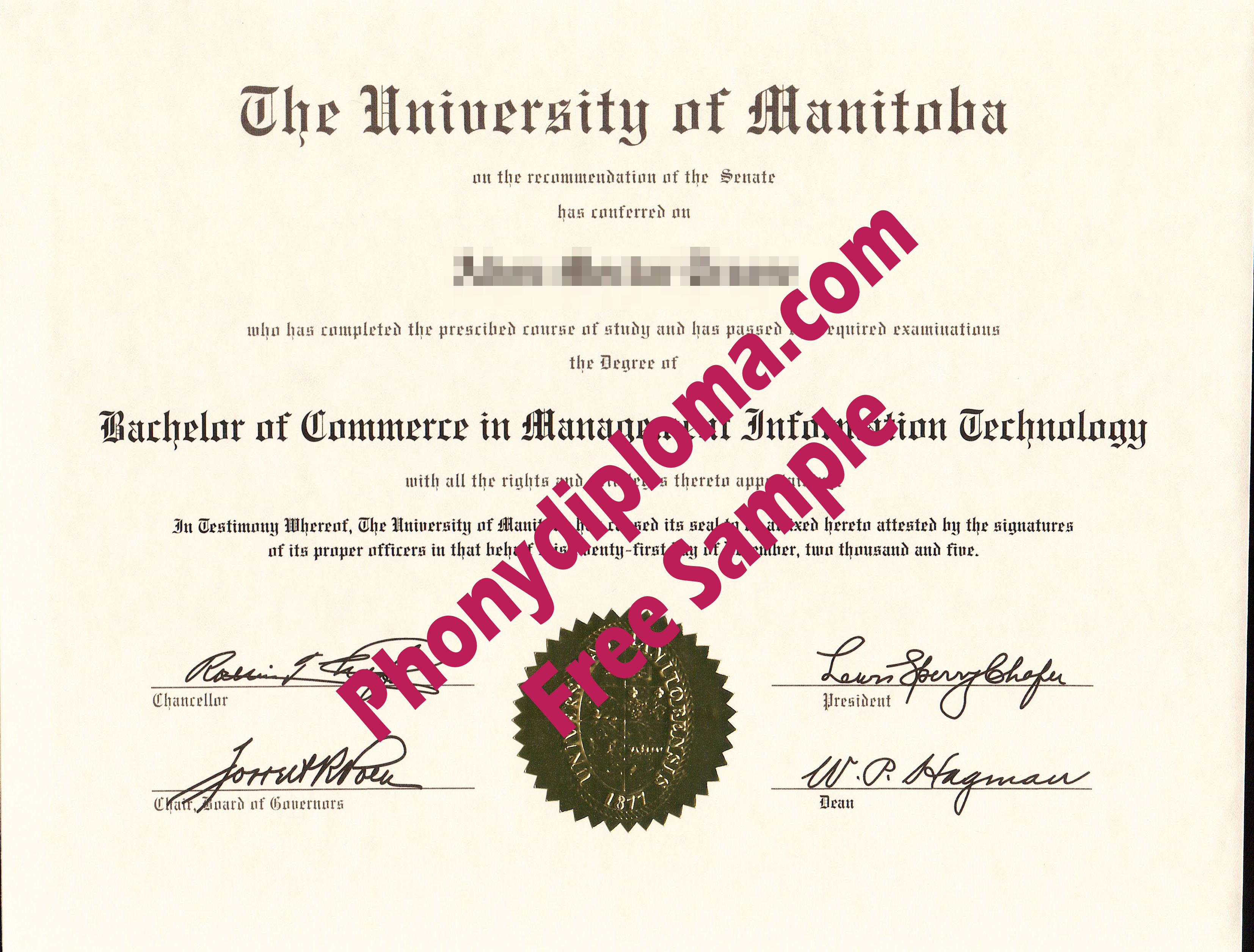 The University Of Manitoba Free Sample From Phonydiploma