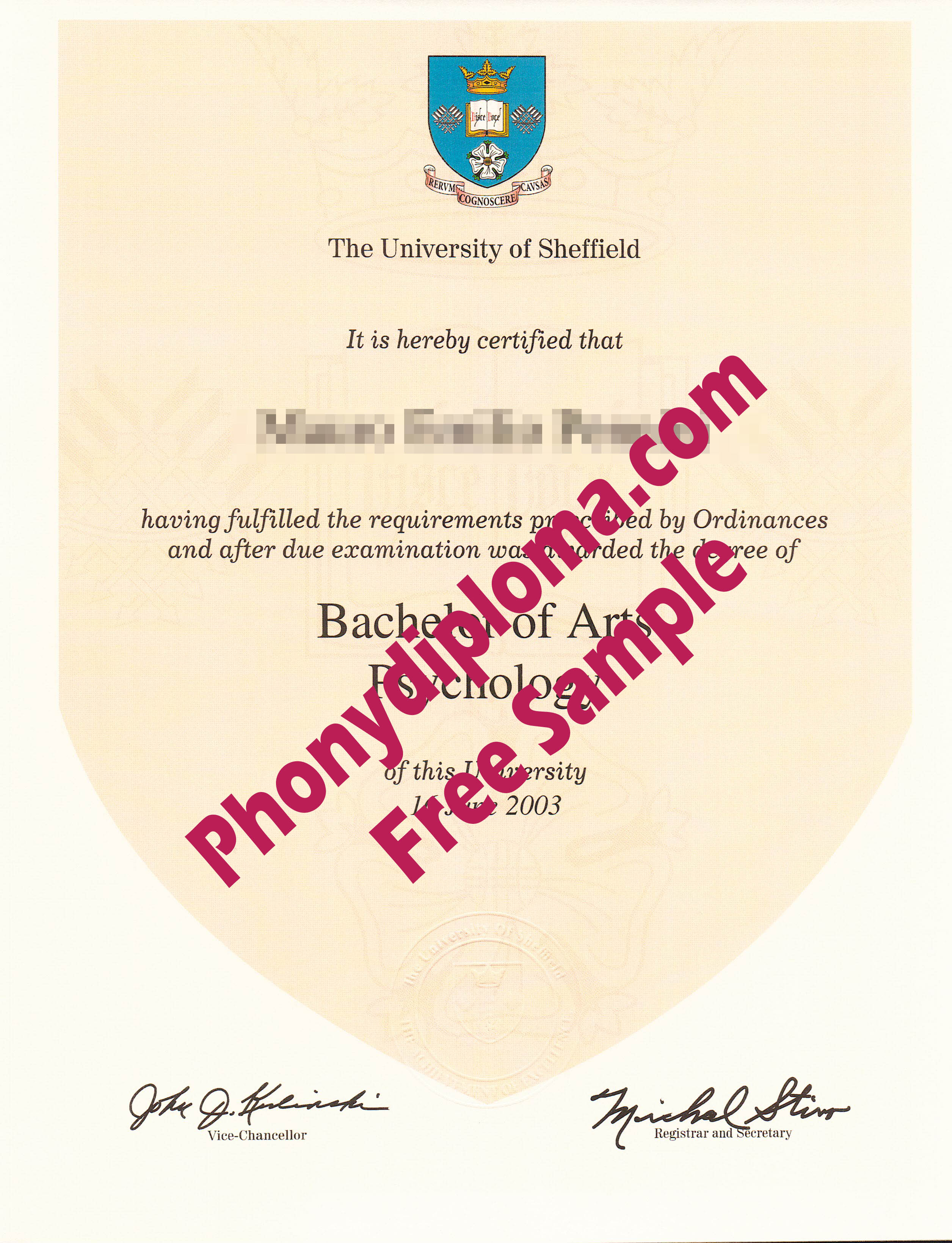 The University Of Sheffield Free Sample From Phonydiploma