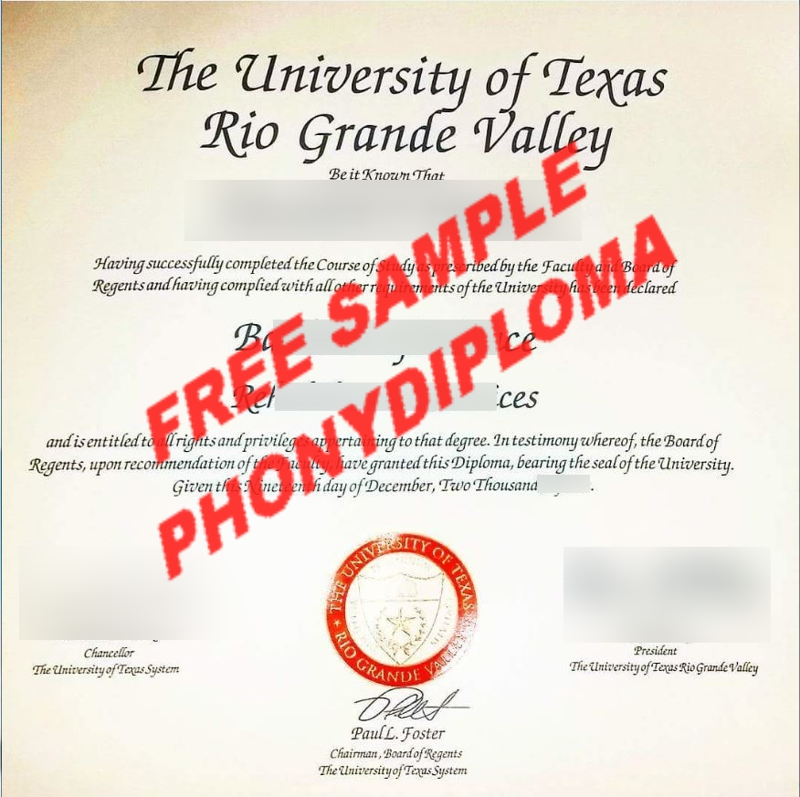 The University Of Texas Rio Grande Valley Free Sample From Phonydiploma