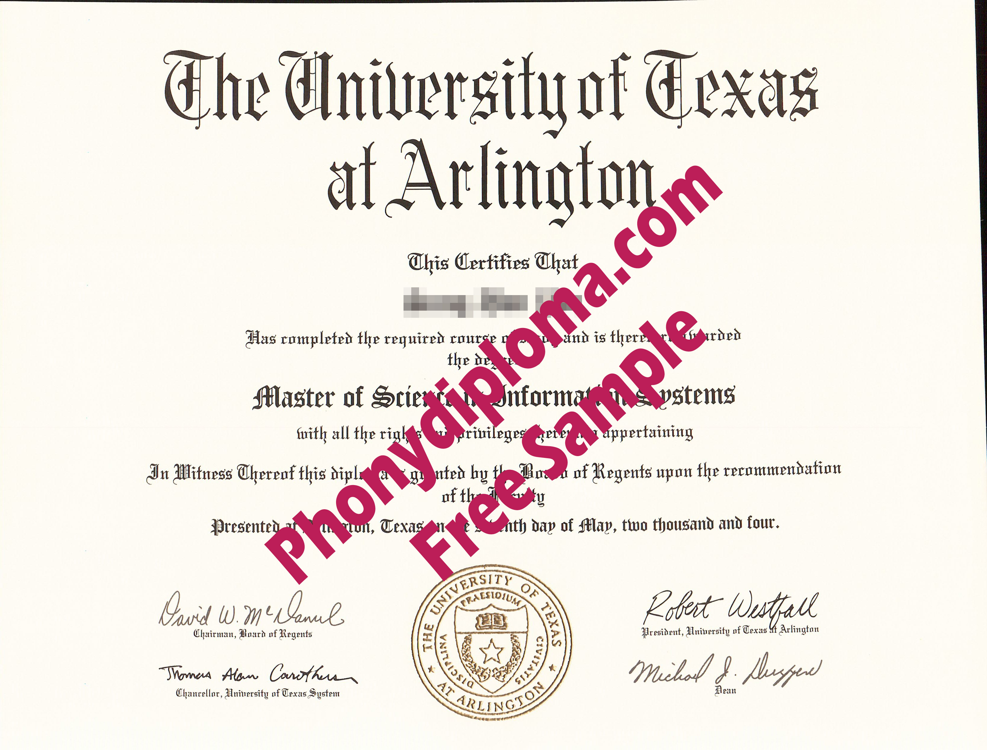 The University Of Texas At Arlington Free Sample From Phonydiploma