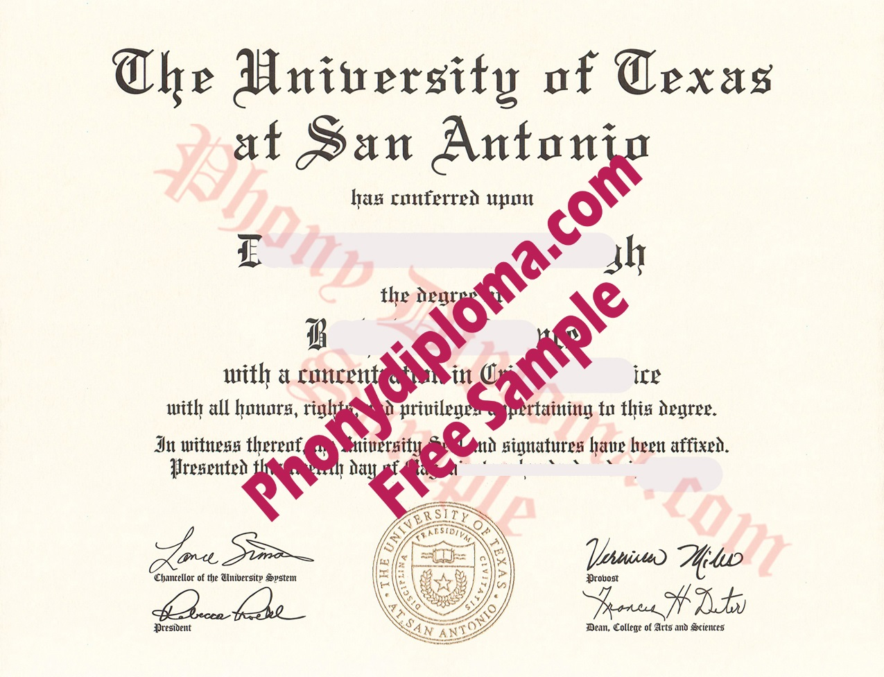 The University Of Texas At San Antonio Free Sample From Phonydiploma