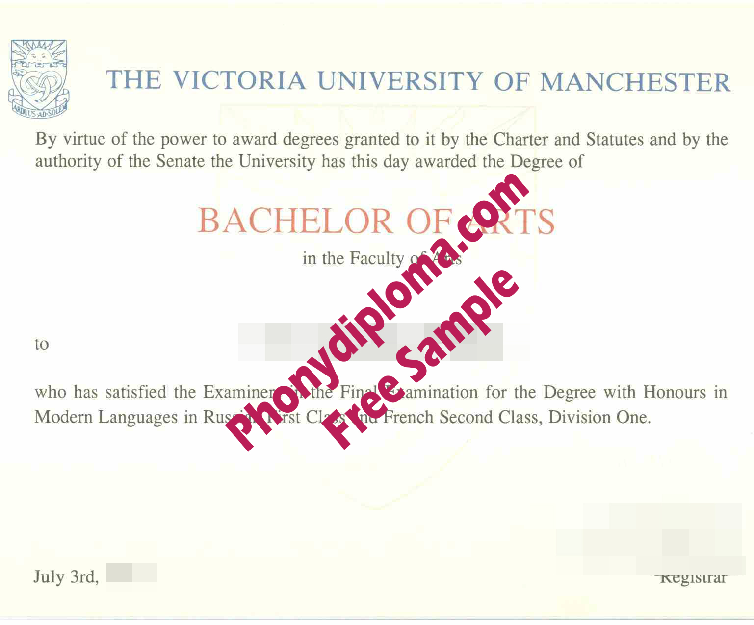 The Victoria University Of Manchester Free Sample From Phonydiploma