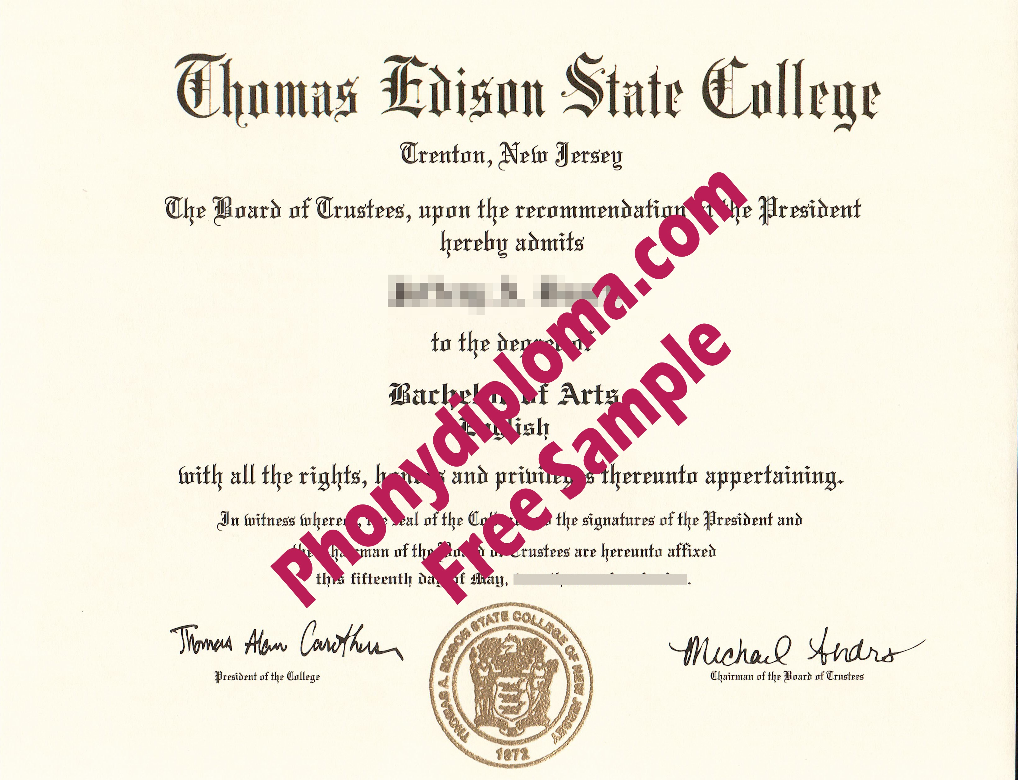 Thomas Edison State College Free Sample From Phonydiploma