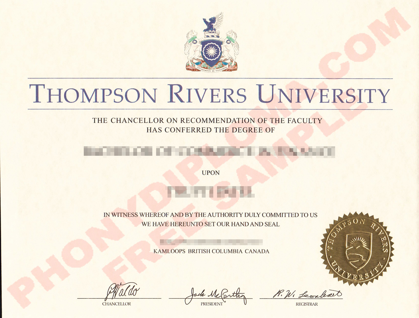 Thompson Rivers University Free Sample From Phonydiploma