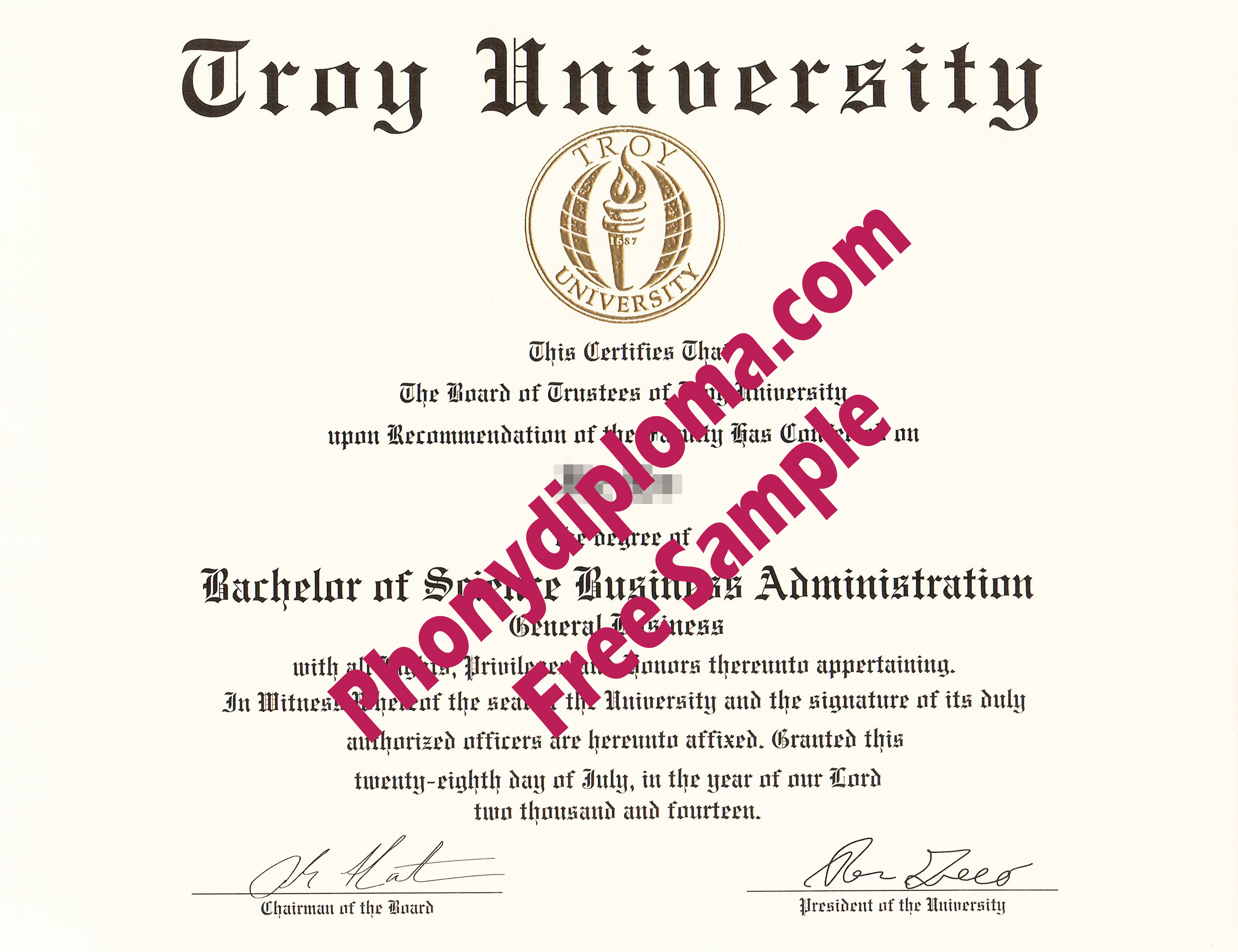 Troy University Free Sample From Phonydiploma
