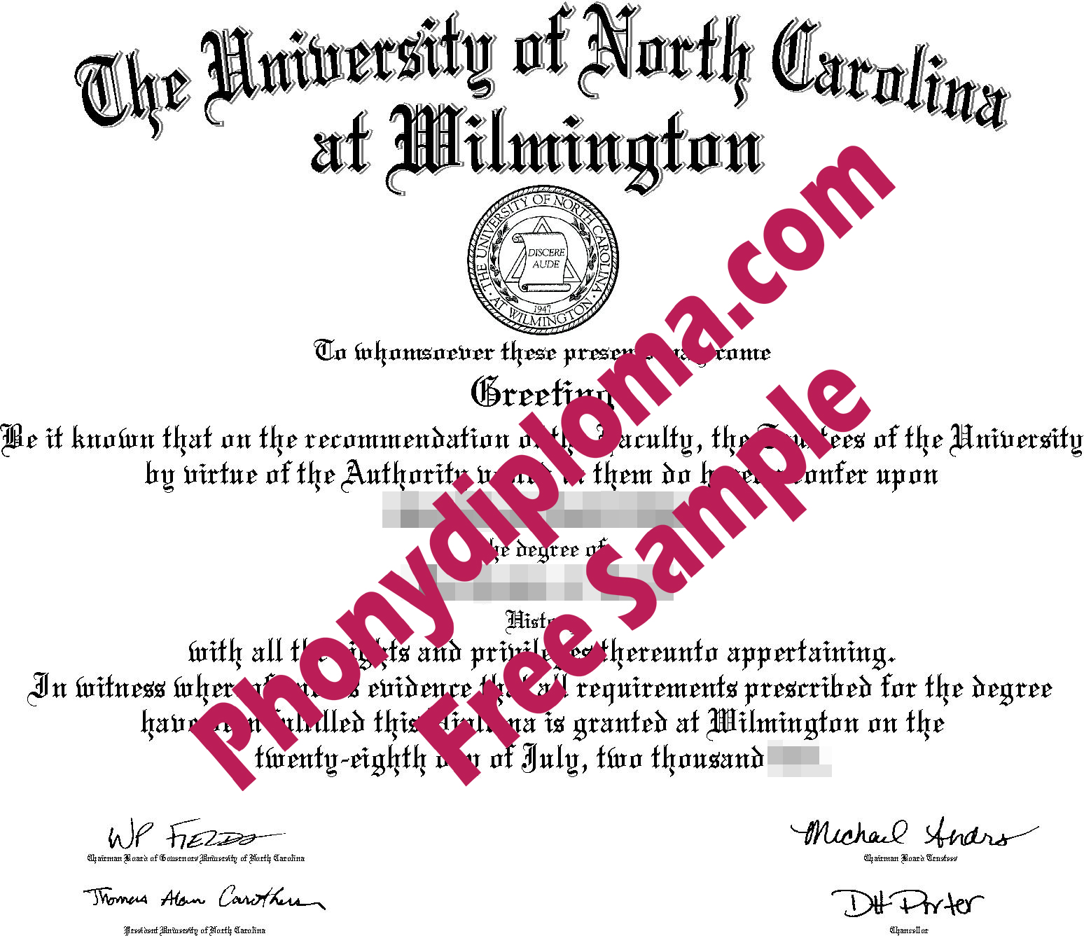 Unc Wilmington Free Sample From Phonydiploma