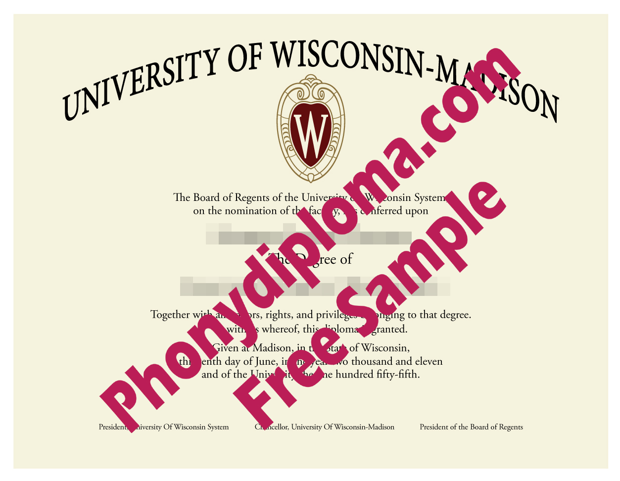 University Of Wisconsin  Madison Free Sample From Phonydiploma