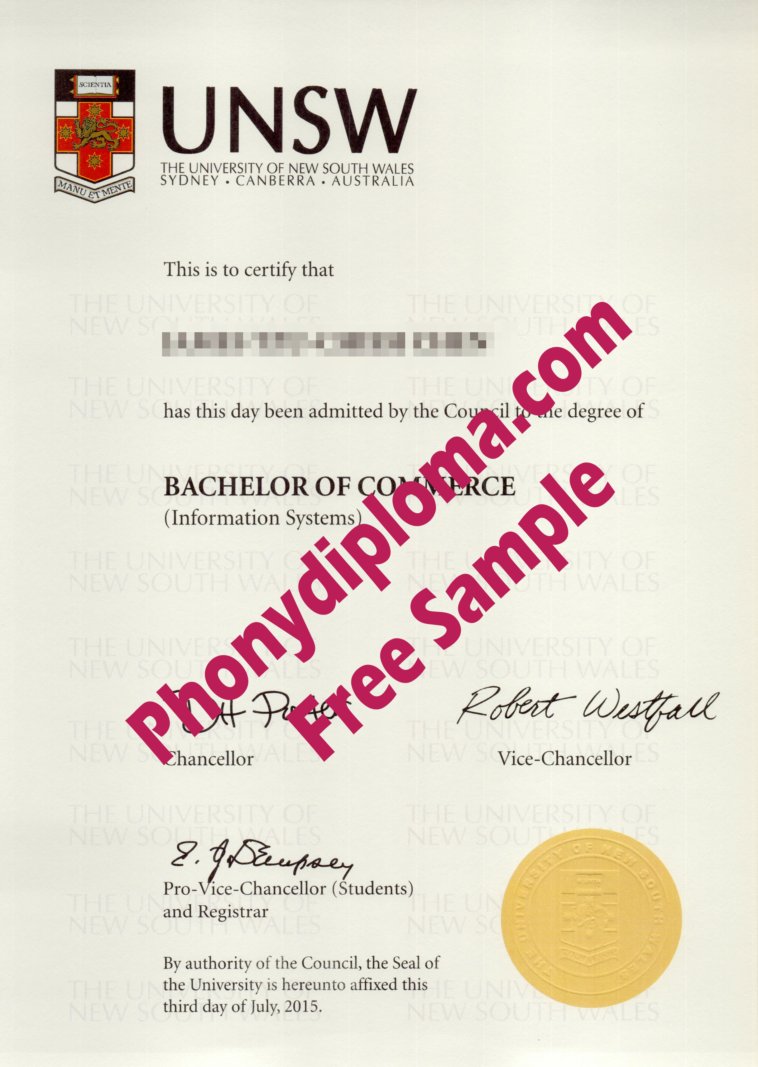 Unsw University Of New South Wales Free Sample From Phonydiploma