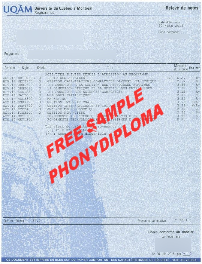 Uqam Actual Match Transcripts Free Sample From Phonydiploma