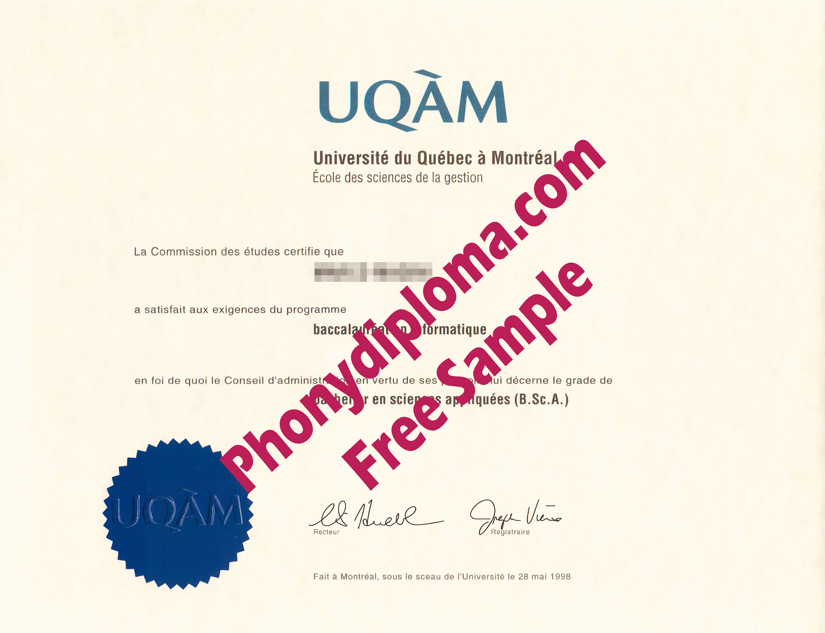 Uqam Universite Du Quebec A Montreal Free Sample From Phonydiploma