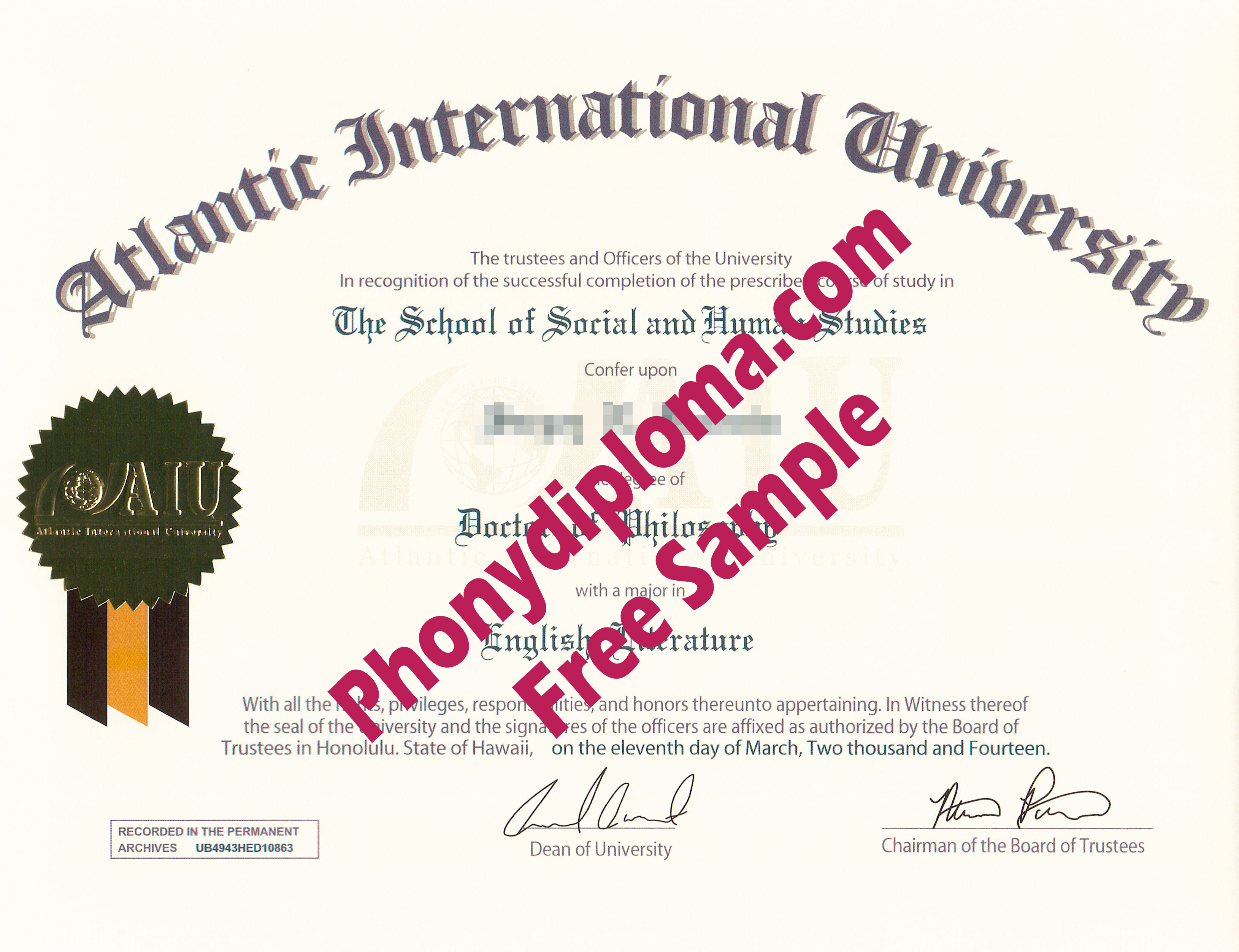Atlantic International University Free Sample From Phonydiploma