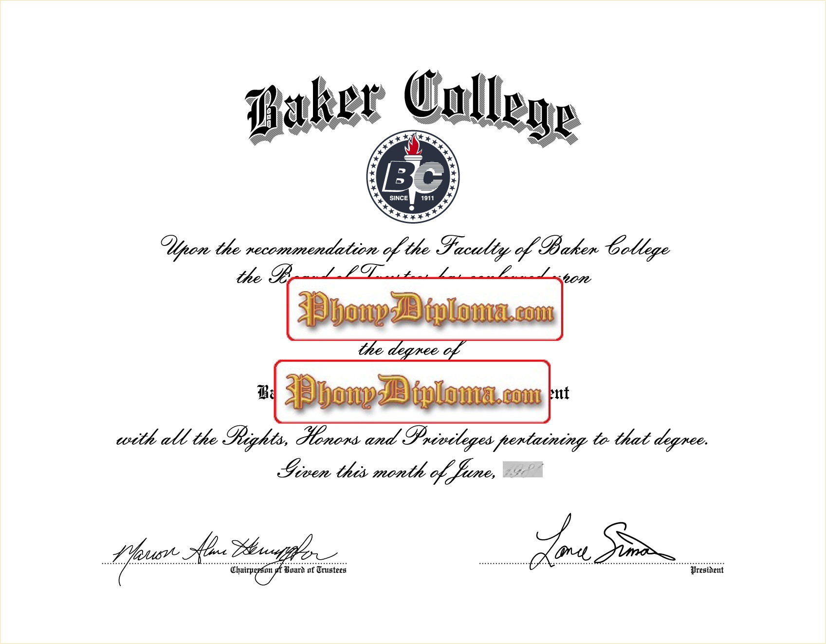 Baker College Free Sample From Phonydiploma