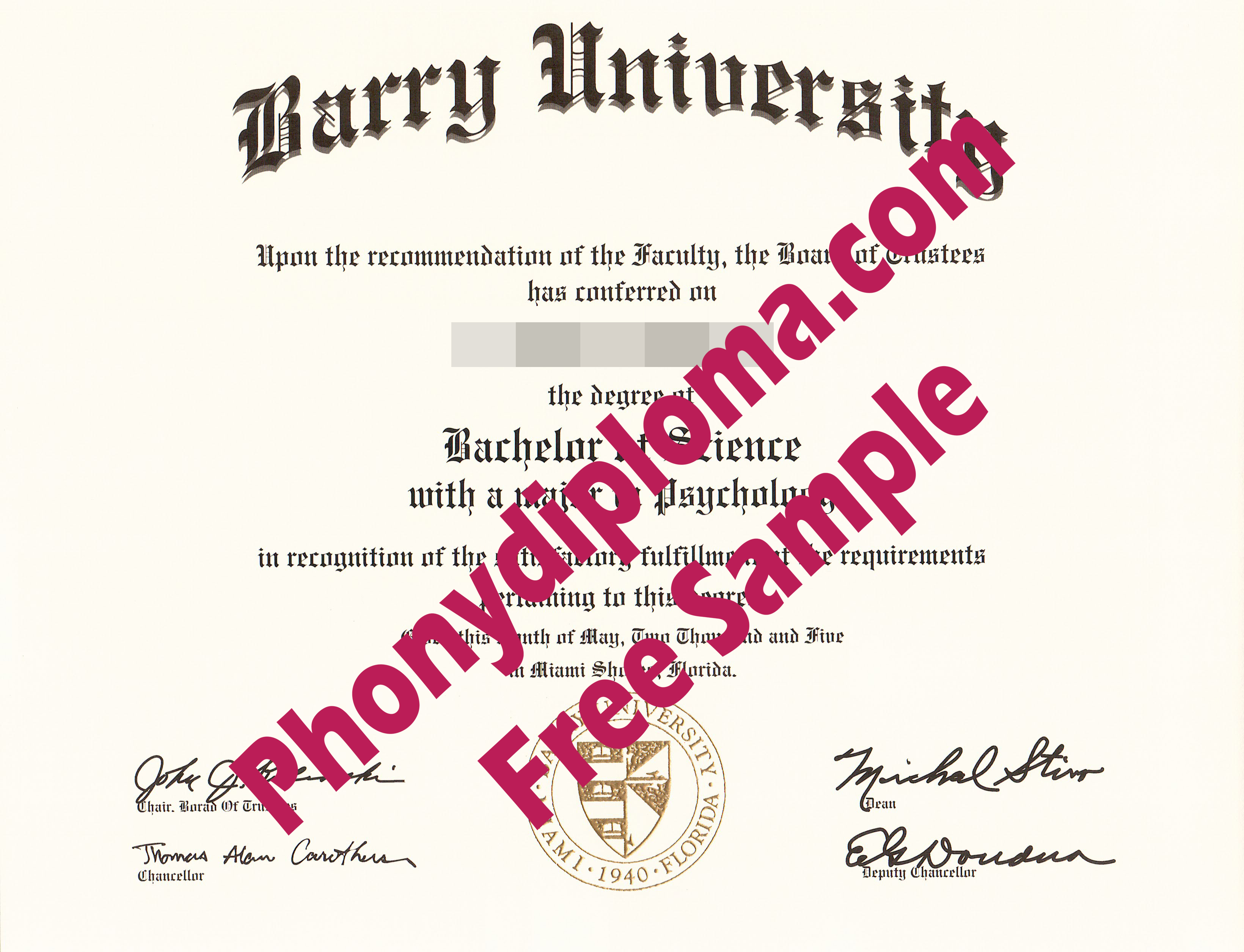 Barry University Free Sample From Phonydiploma