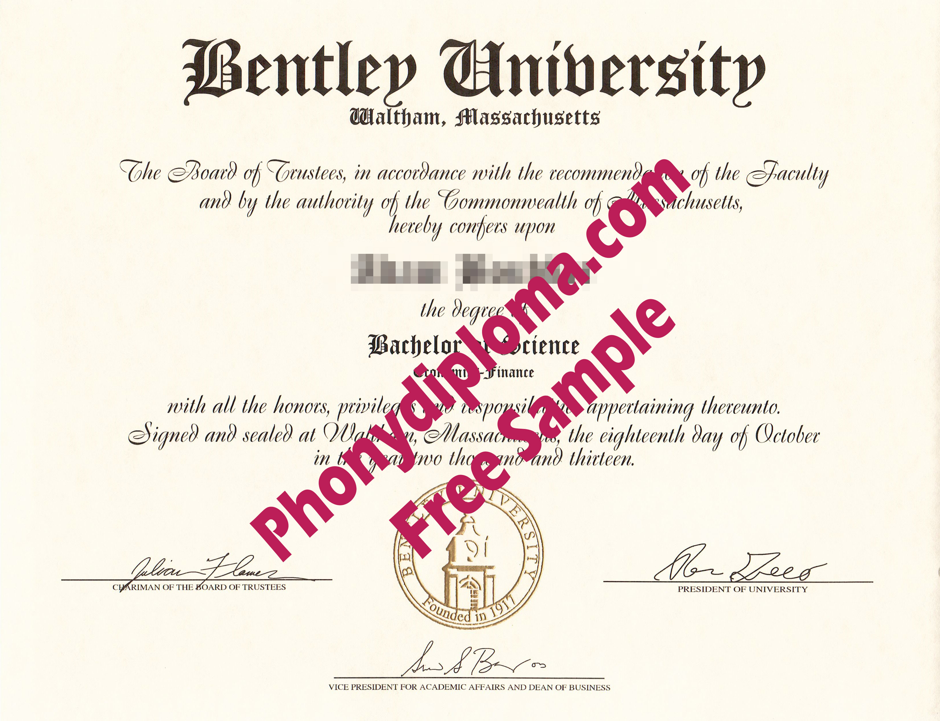 Bentley University Free Sample From Phonydiploma