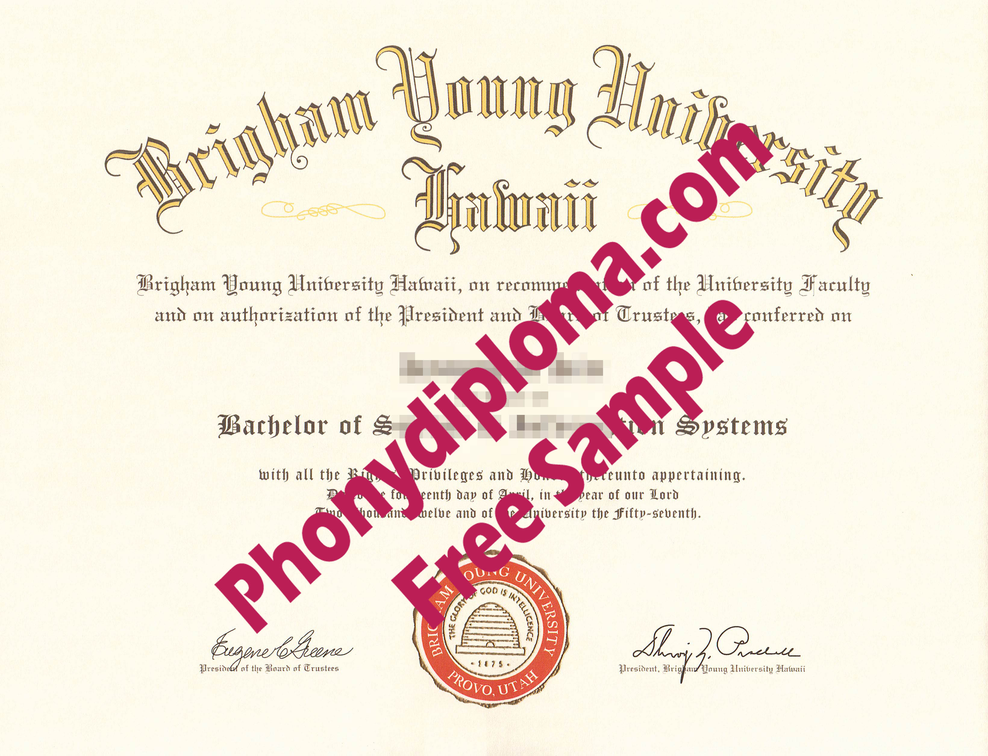 Brigham Young University Hawaii Free Sample From Phonydiploma