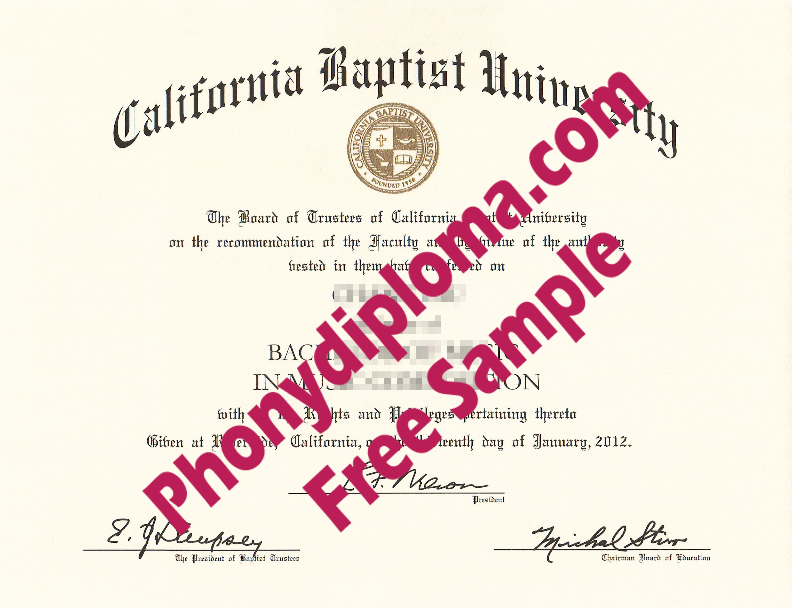 California Baptist University Free Sample From Phonydiploma
