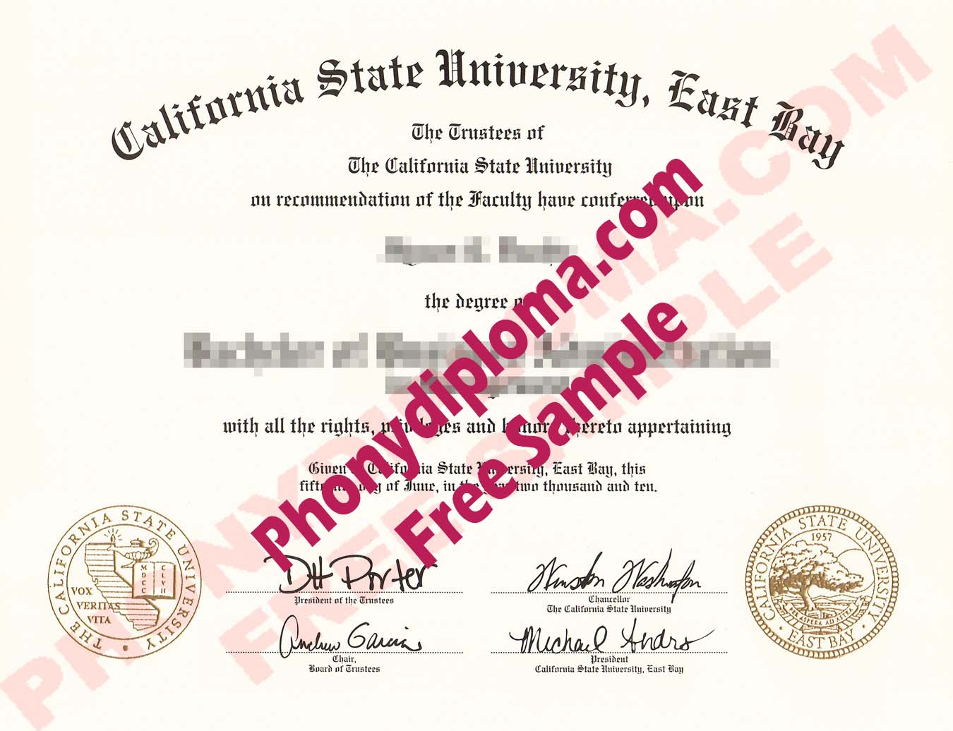 California State University East Bay Free Sample From Phonydiploma