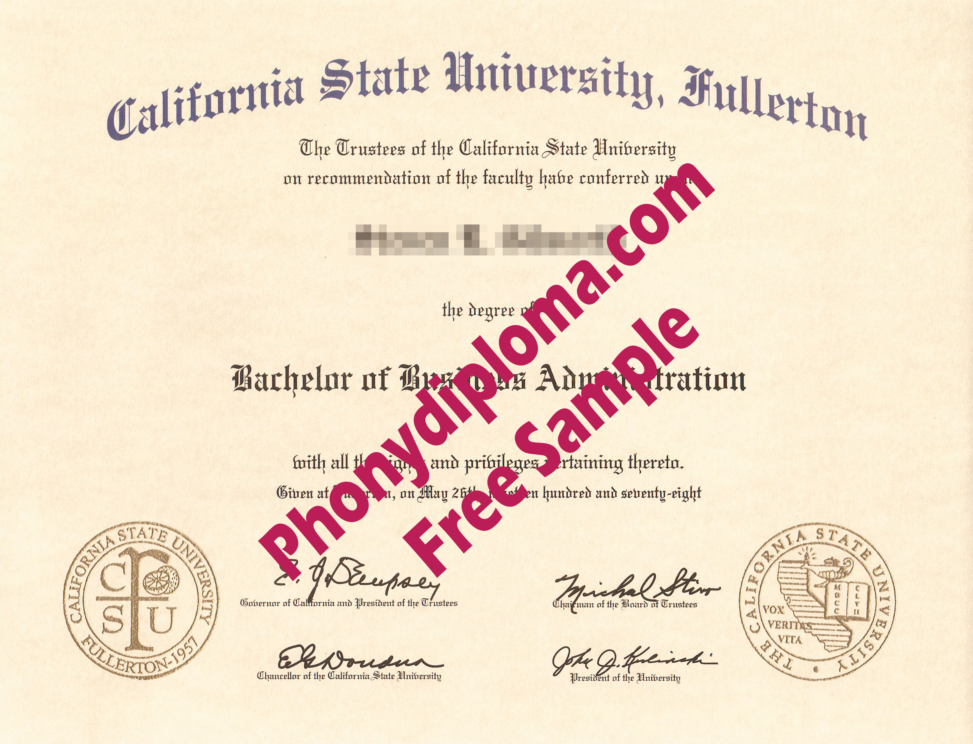 California State University Fullterton Raised Gold Emblems Free Sample From Phonydiploma