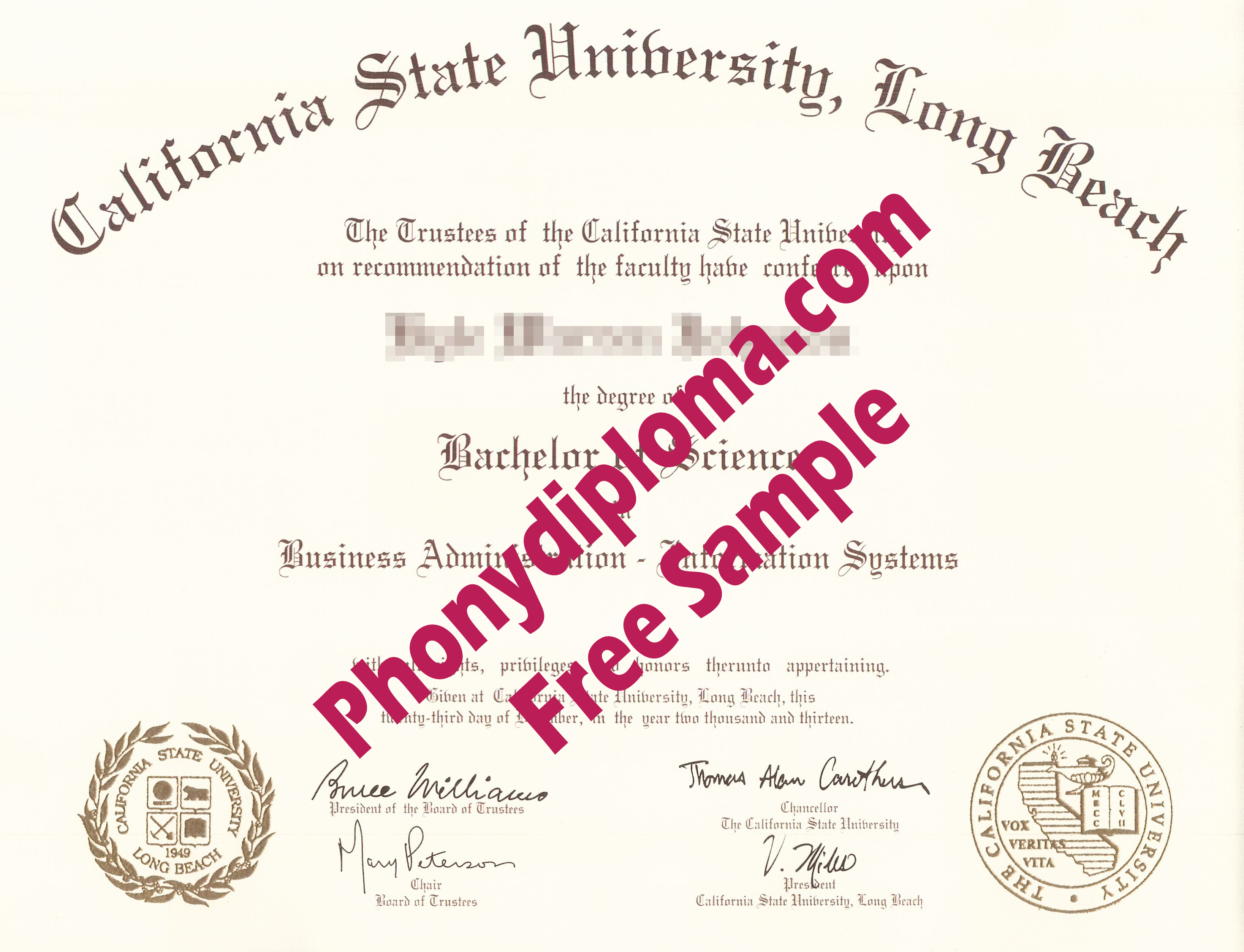 California State University Long Beach Free Sample From Phonydiploma