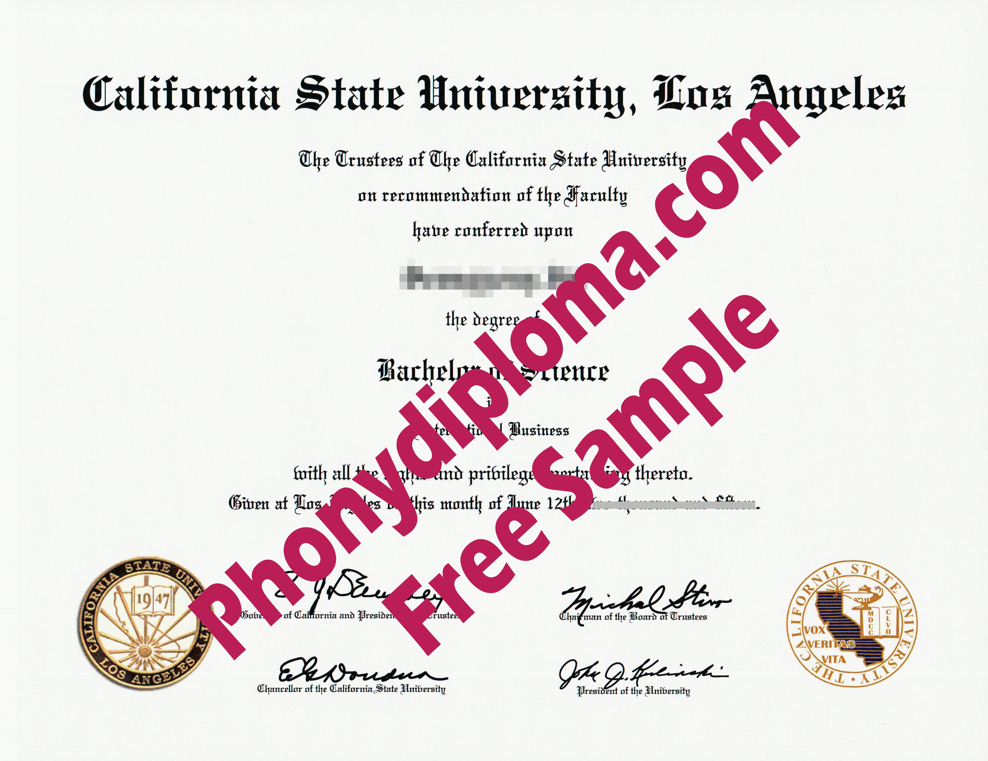 California State University Los Angeles Free Sample From Phonydiploma