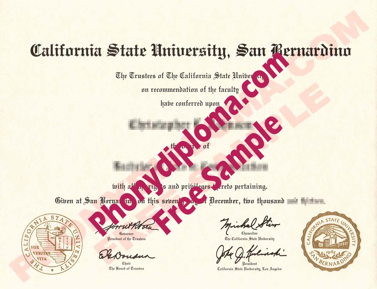 California State University San Bernardino Free Sample From Phonydiploma