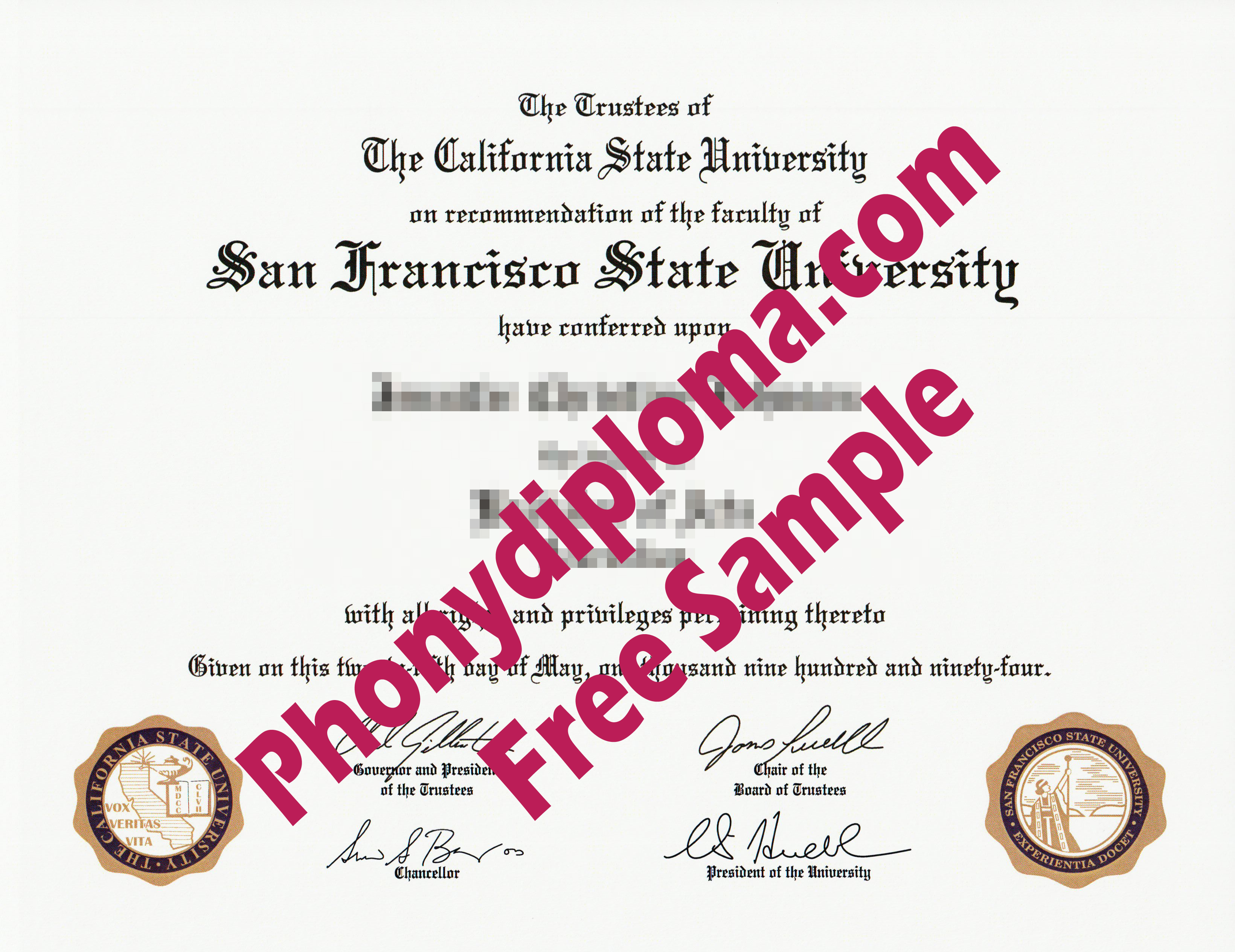 California State University San Francisco State University Emblem Printed In Flat Ink Free Sample From Phonydiploma