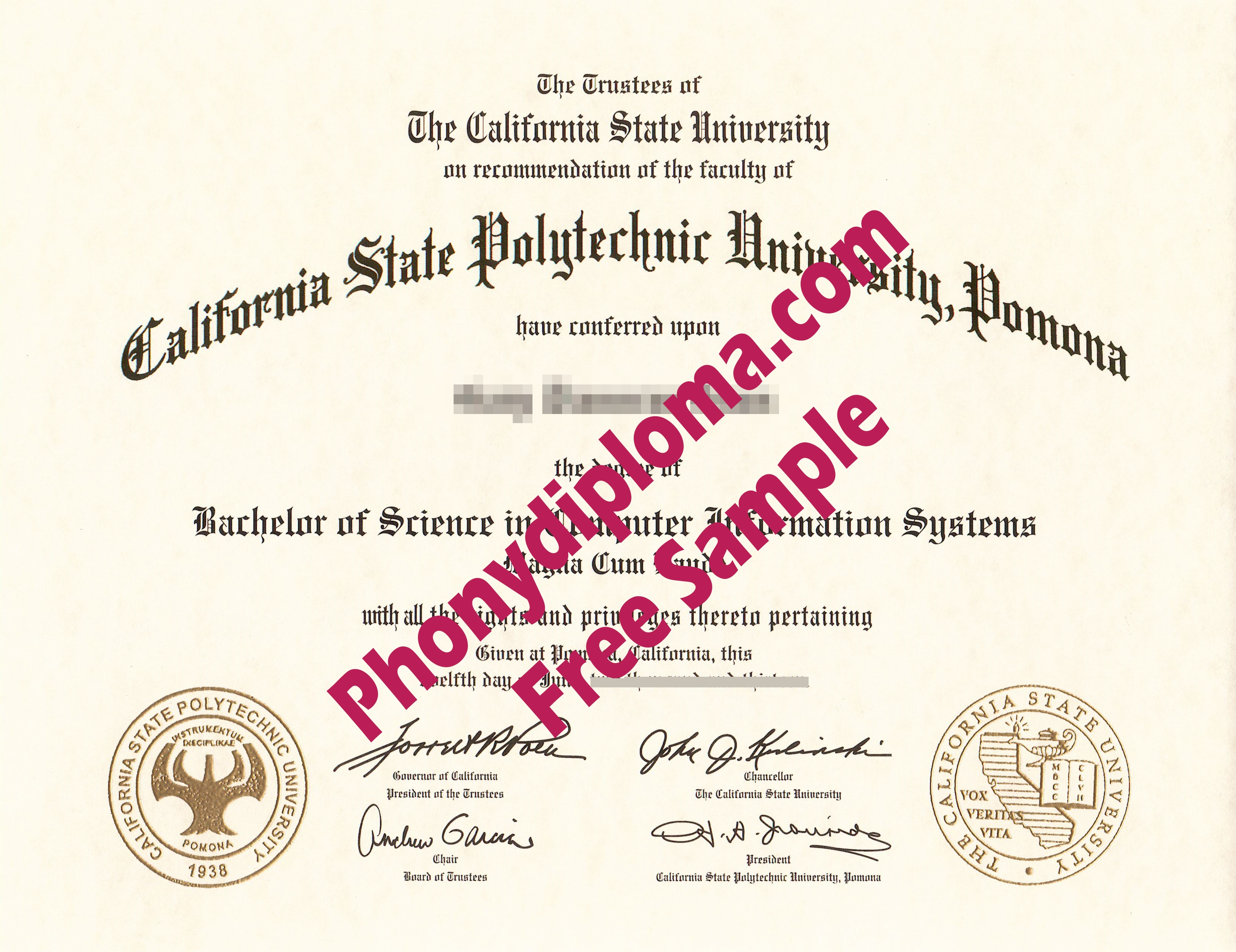 California State Polytechnic University Pomona Free Sample From Phonydiploma