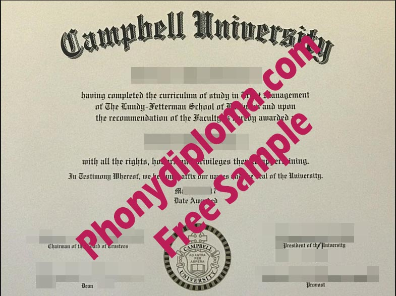 Campbell University Free Sample From Phonydiploma