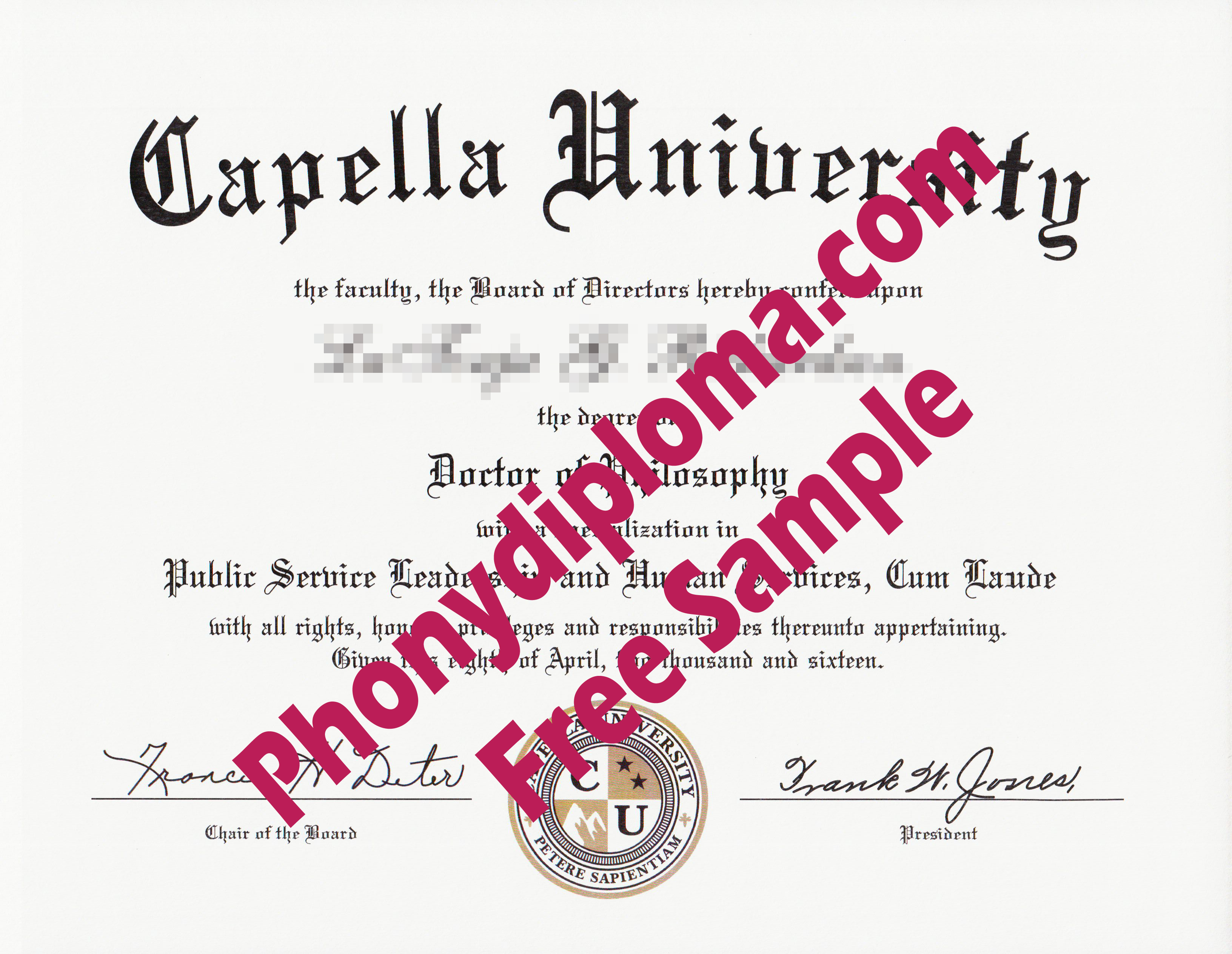 Capella University Flat Ink Emblem Free Sample From Phonydiploma