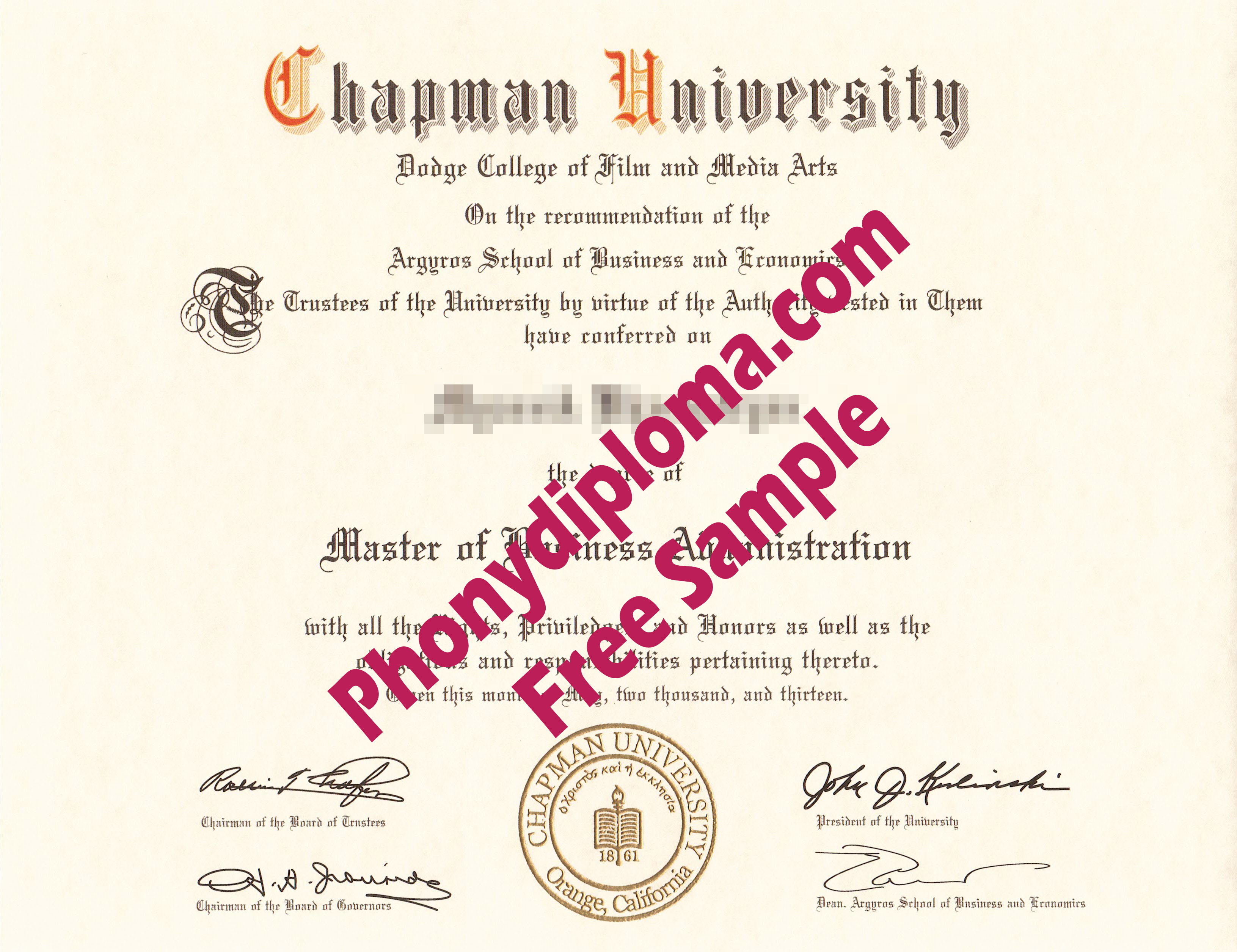 Chapman University Mba Free Sample From Phonydiploma