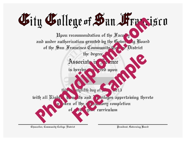 City College Of San Francisco Free Sample From Phonydiploma