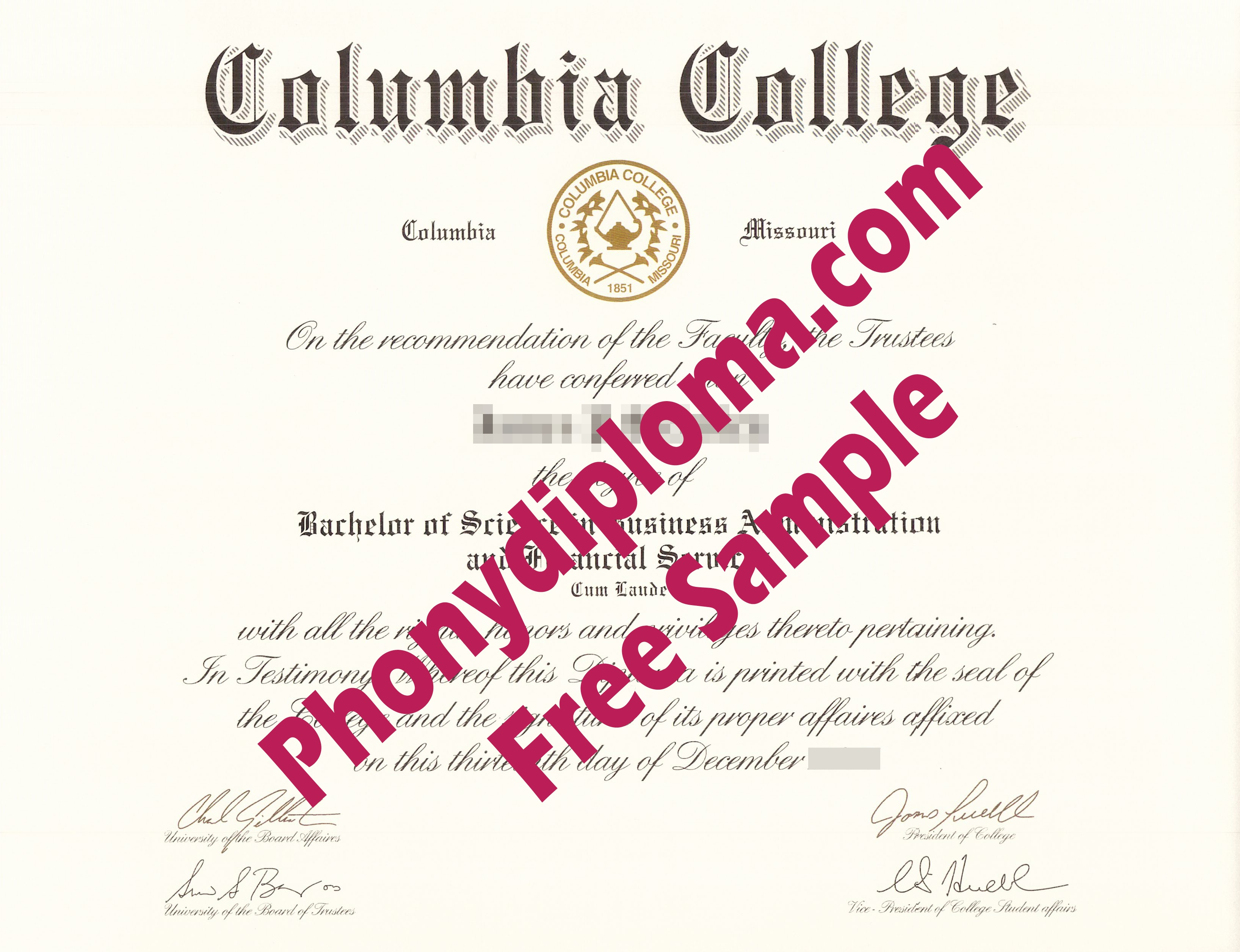 Columbia College Missouri And California Free Sample From Phonydiploma