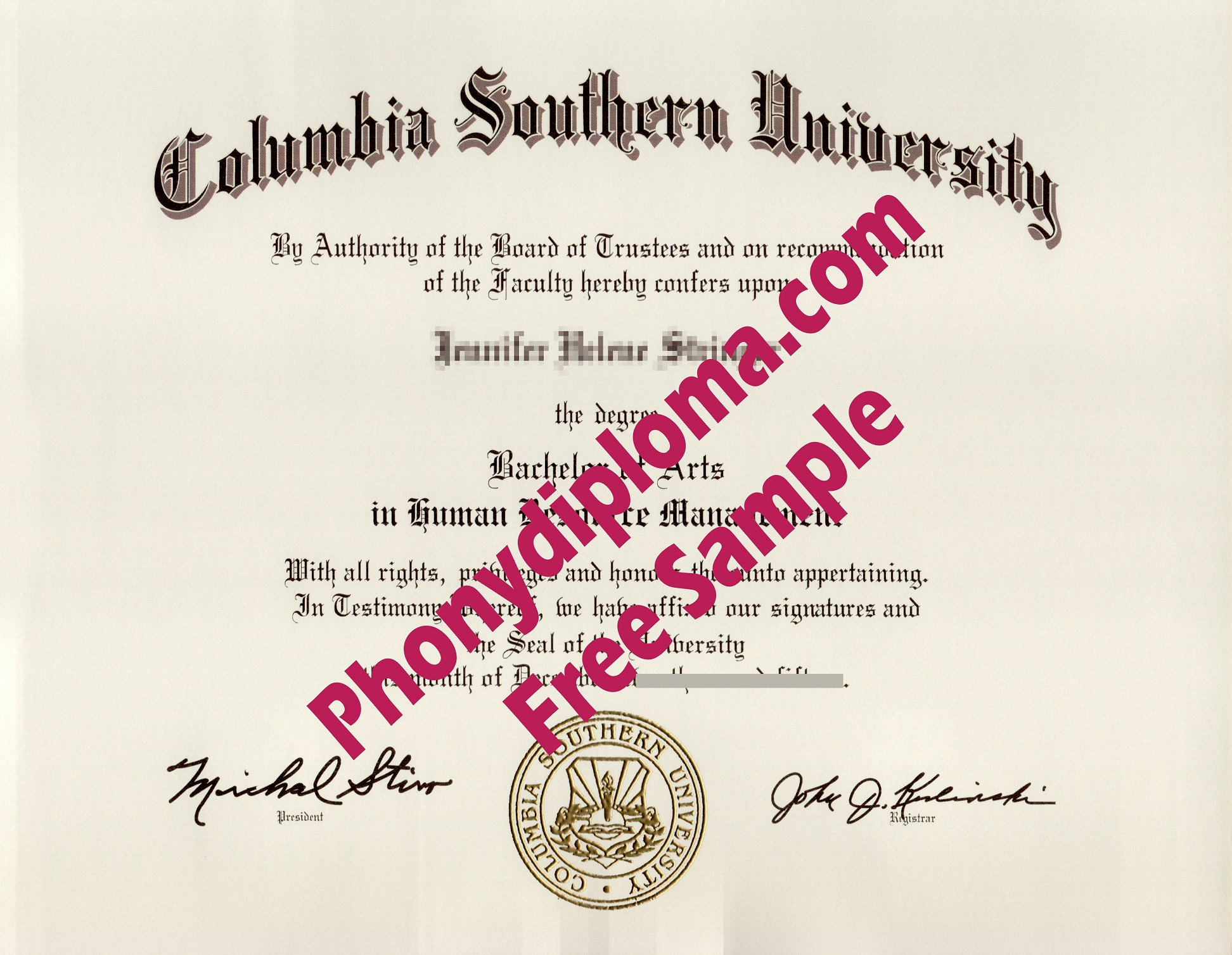 Columbia Southern University Free Sample From Phonydiploma