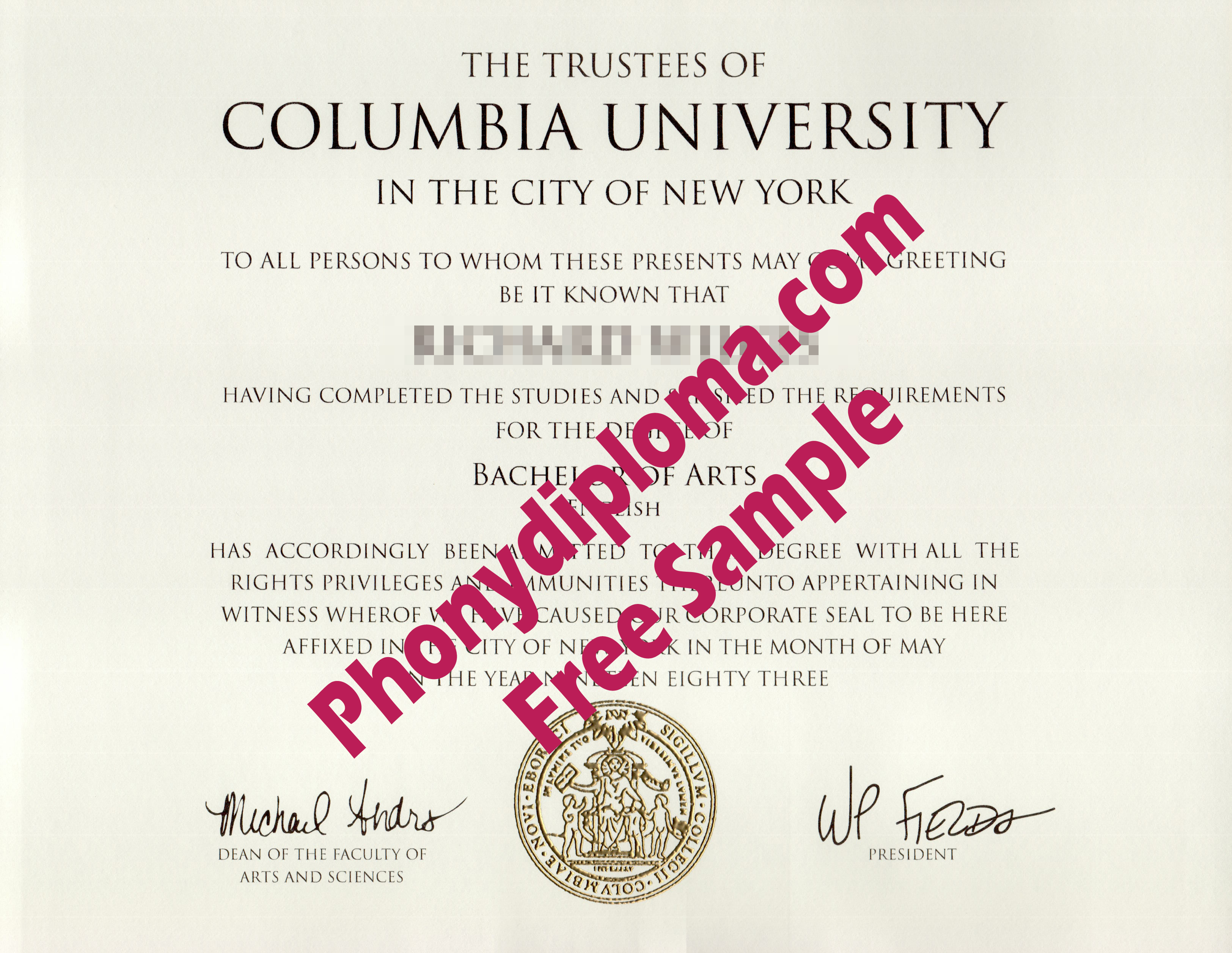 Columbia University Free Sample From Phonydiploma (2)