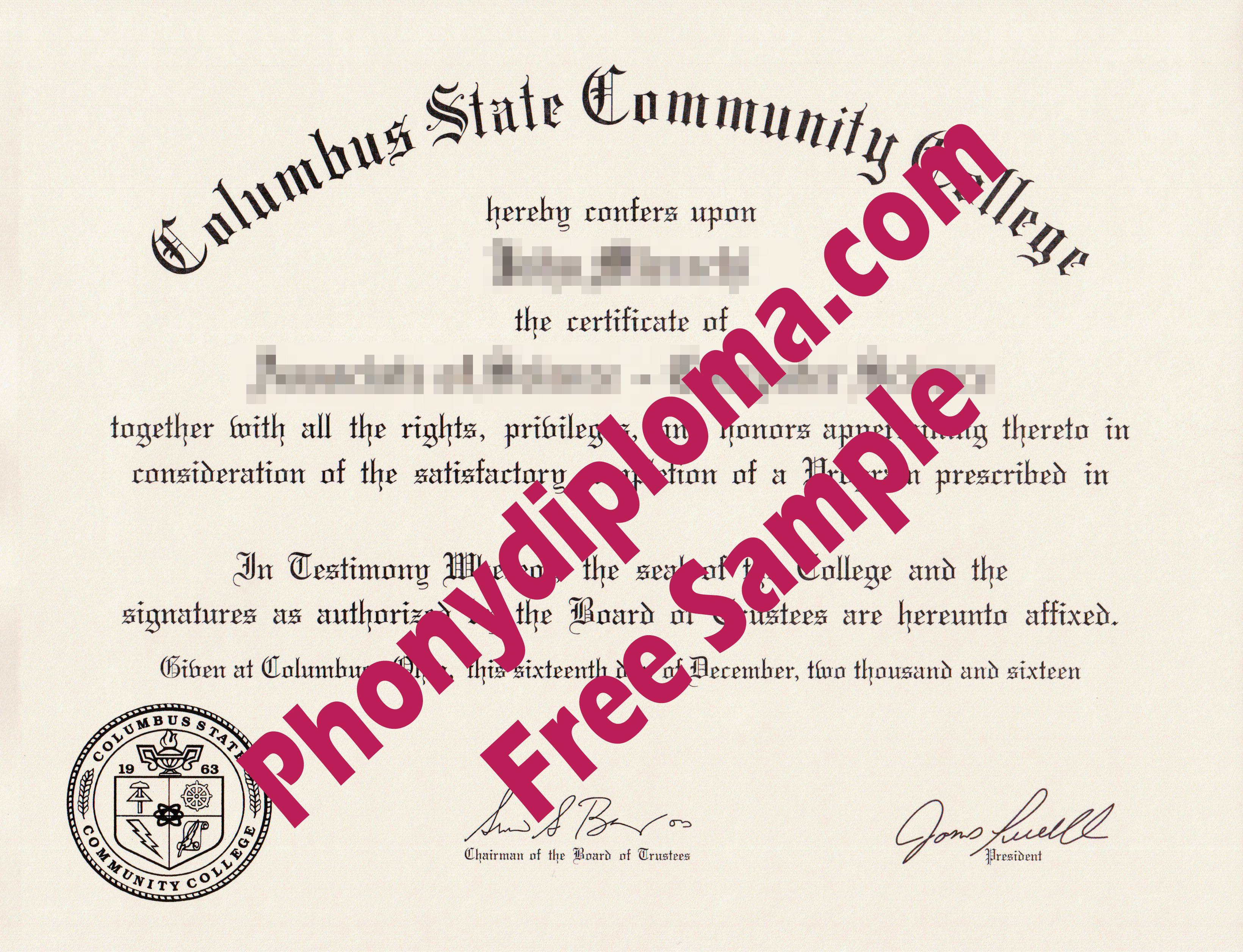 Columbus State Community College Free Sample From Phonydiploma