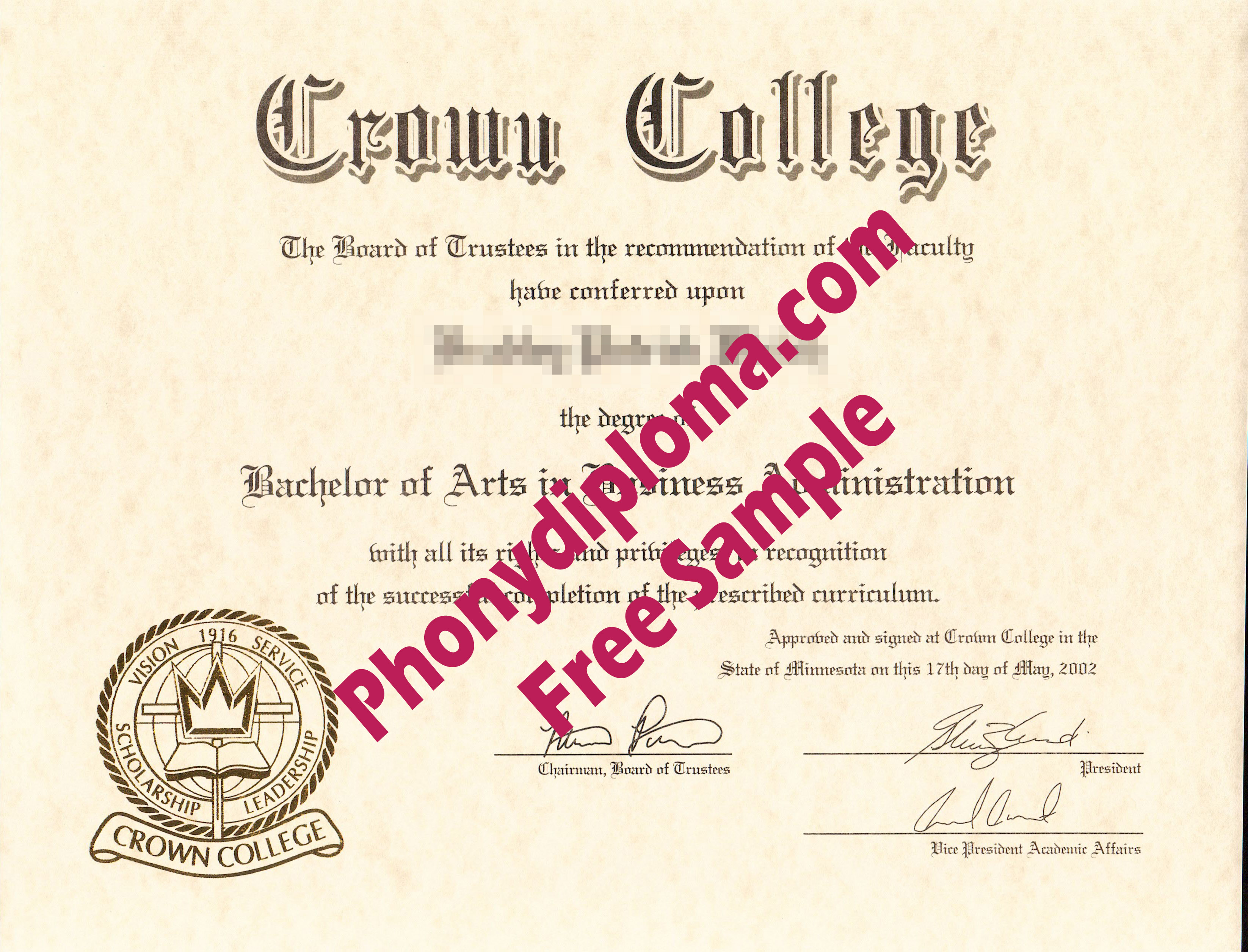 Crown College Free Sample From Phonydiploma