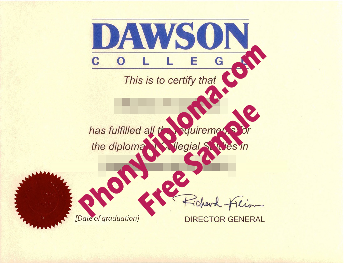 Dawson College With Red Registrar Emblem Free Sample From Phonydiploma