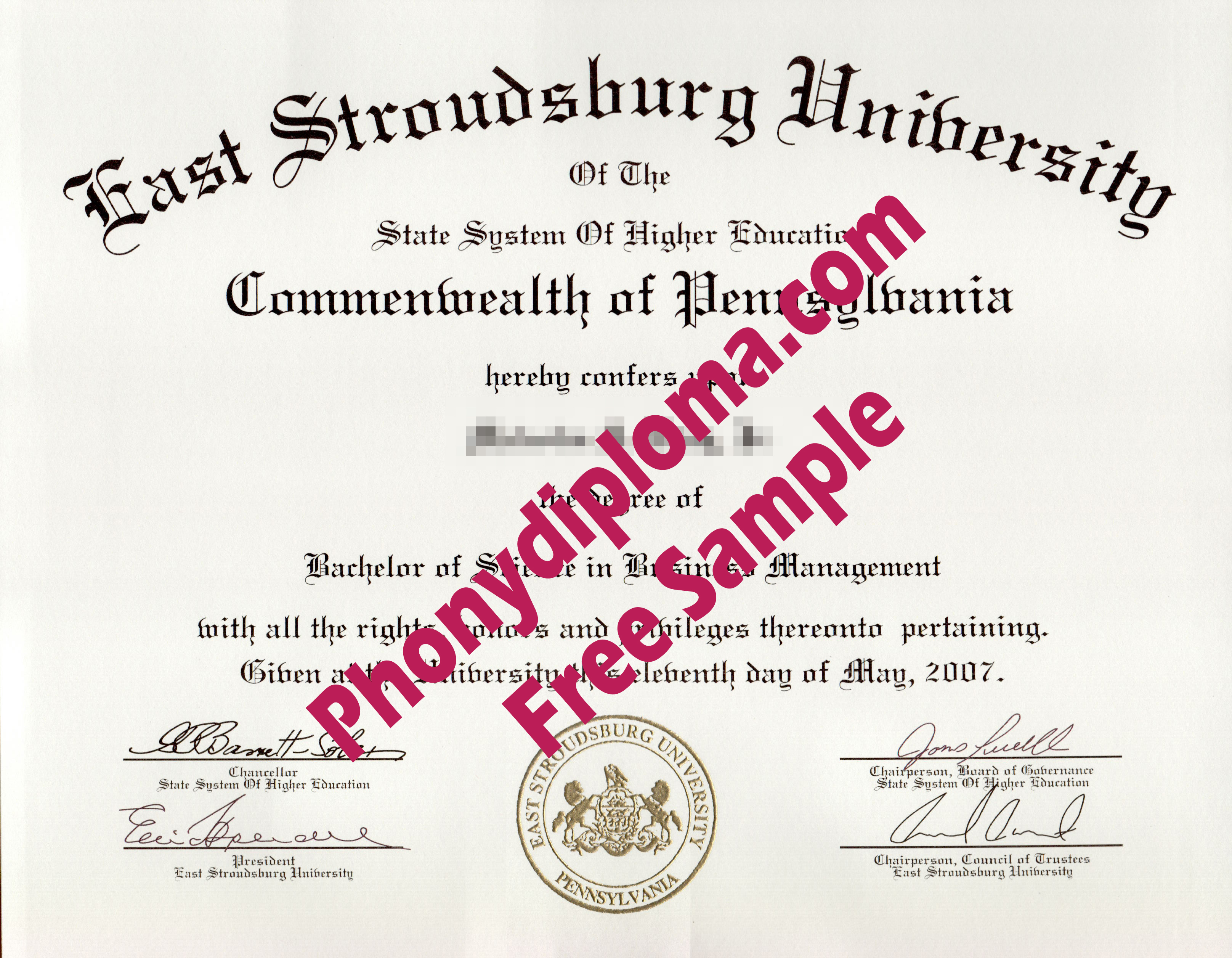 East Stroudsburg University Free Sample From Phonydiploma