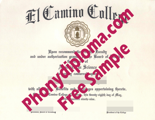 El Camino College Free Sample From Phonydiploma