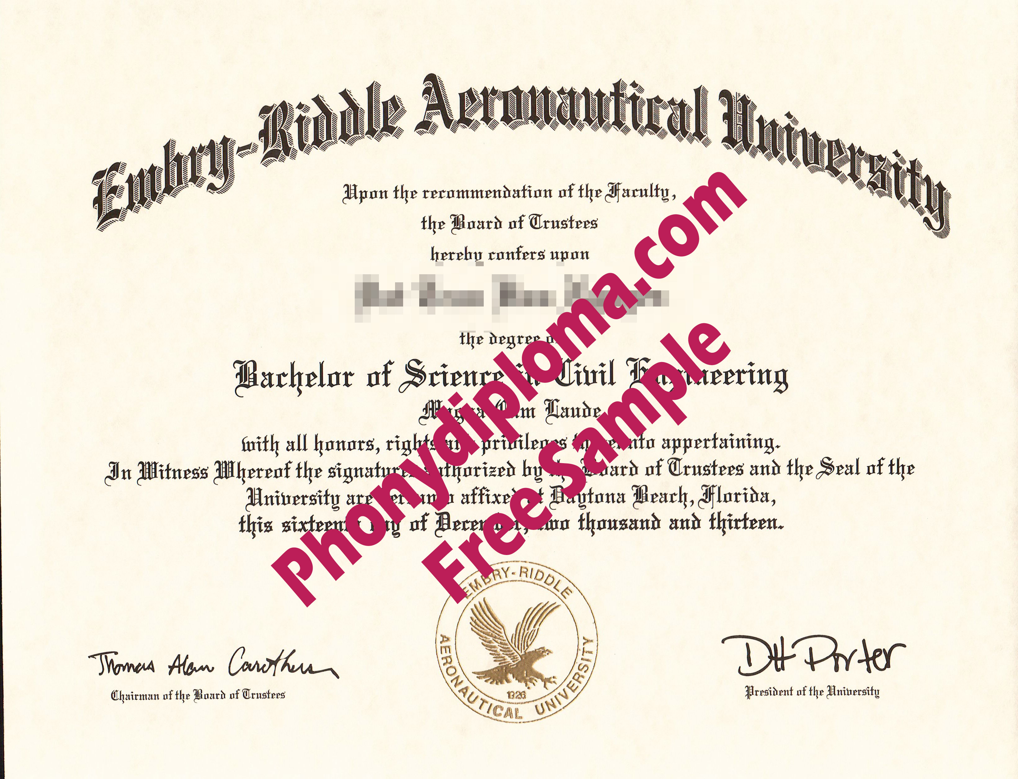 Embry Riddle Aeronautical University Free Sample From Phonydiploma