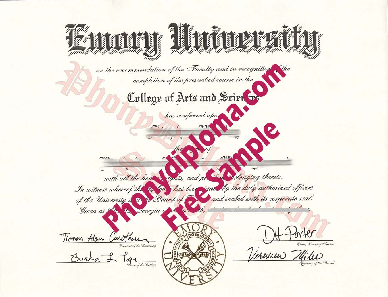 Emory University Free Sample From Phonydiploma