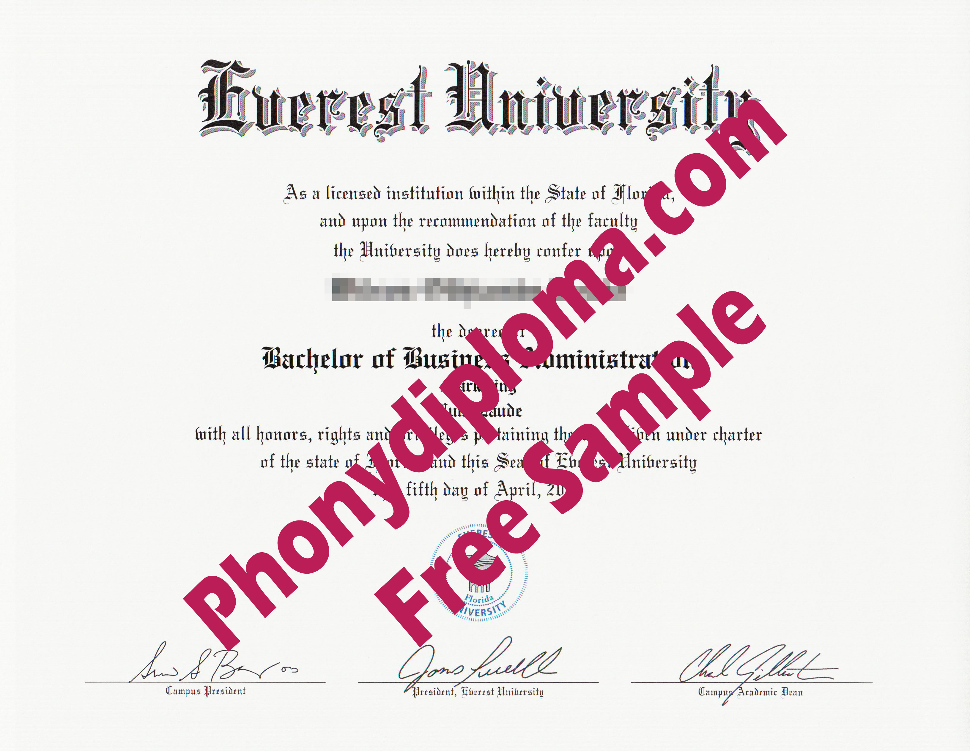 Everest University Free Sample From Phonydiploma