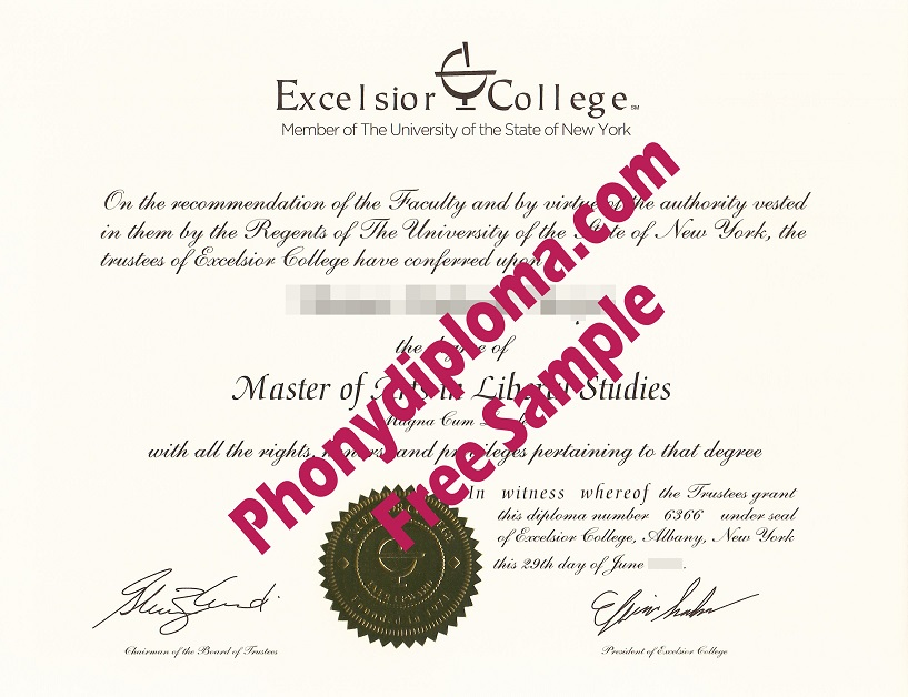 Excelsior College New York Free Sample From Phonydiploma