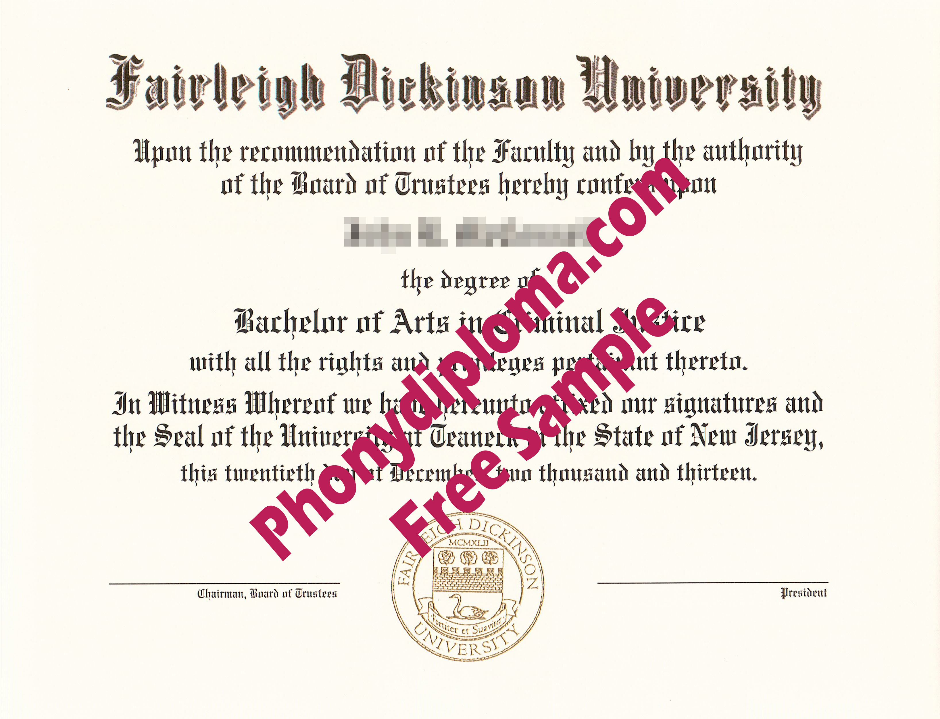 Fairleigh Dickinson University Free Sample From Phonydiploma
