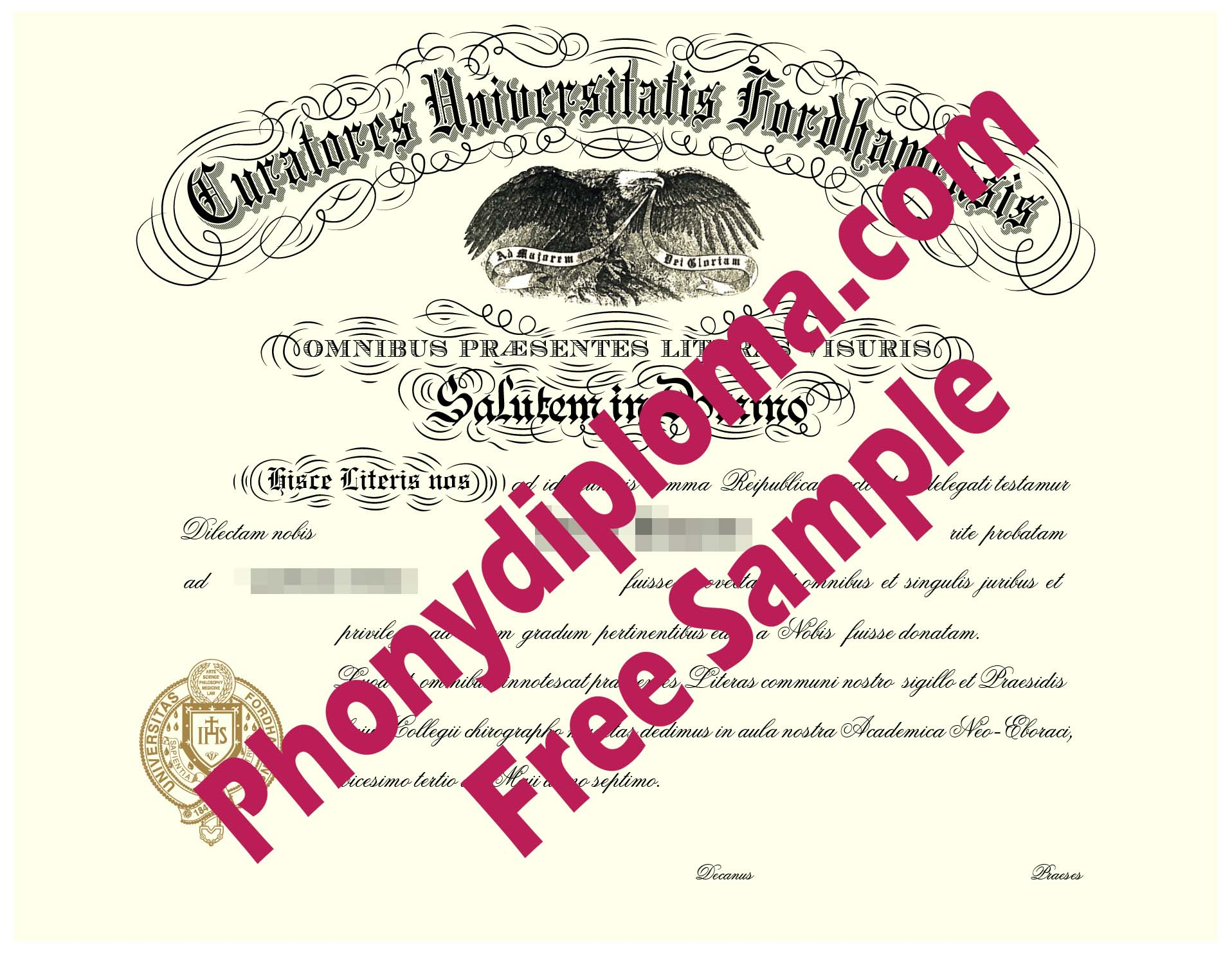 Fordham University Free Sample From Phonydiploma