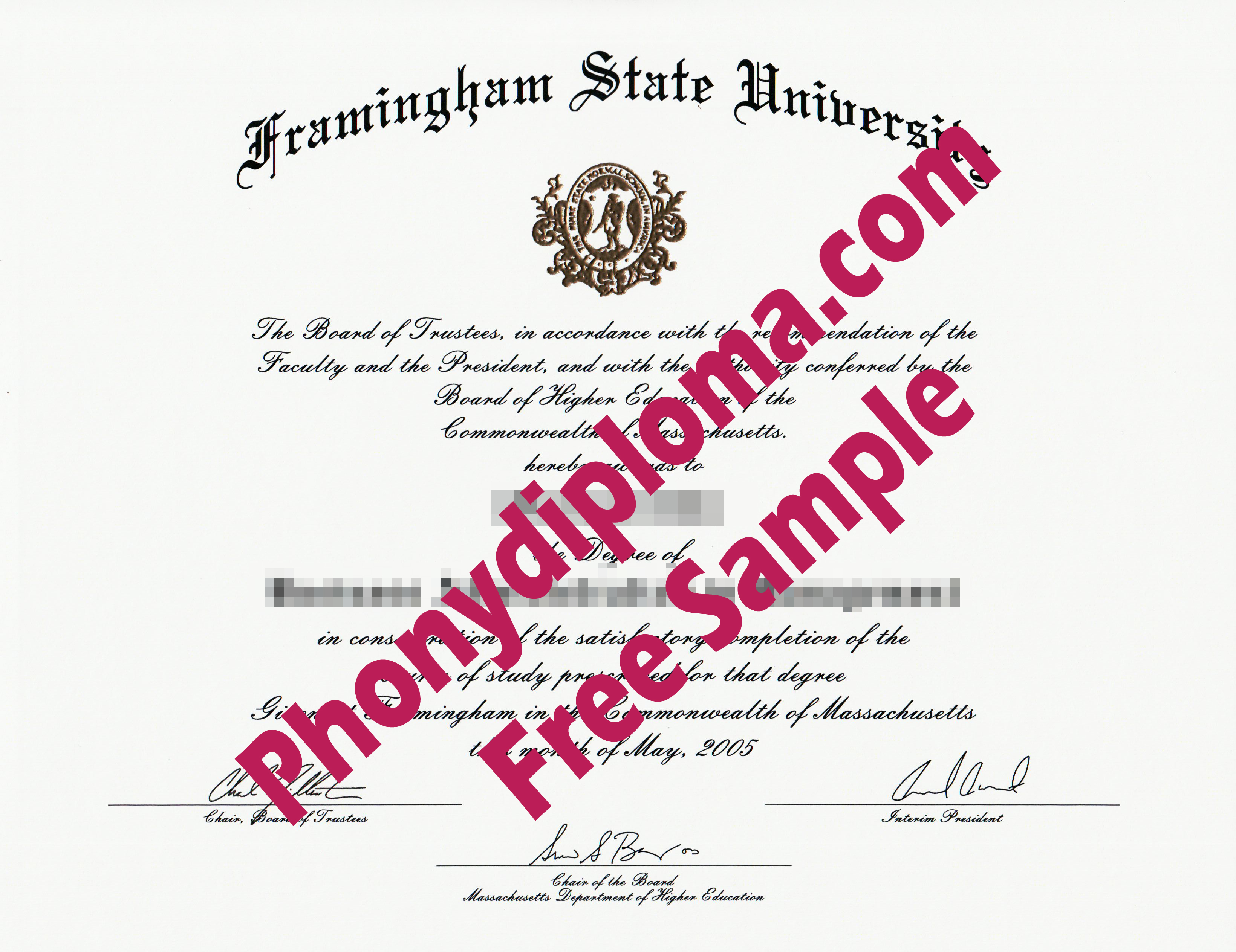 Framingham State University Free Sample From Phonydiploma