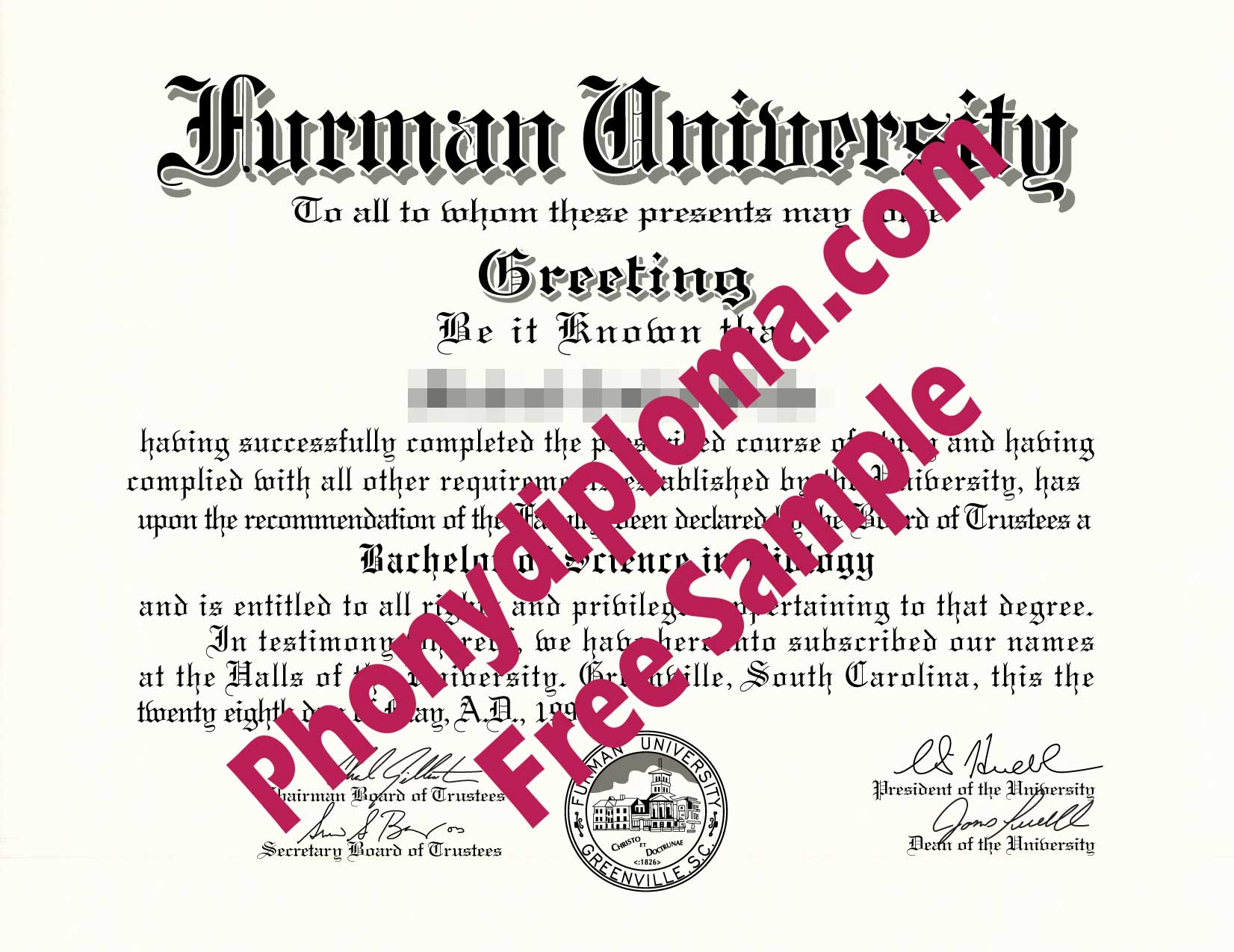 Furman University Free Sample From Phonydiploma