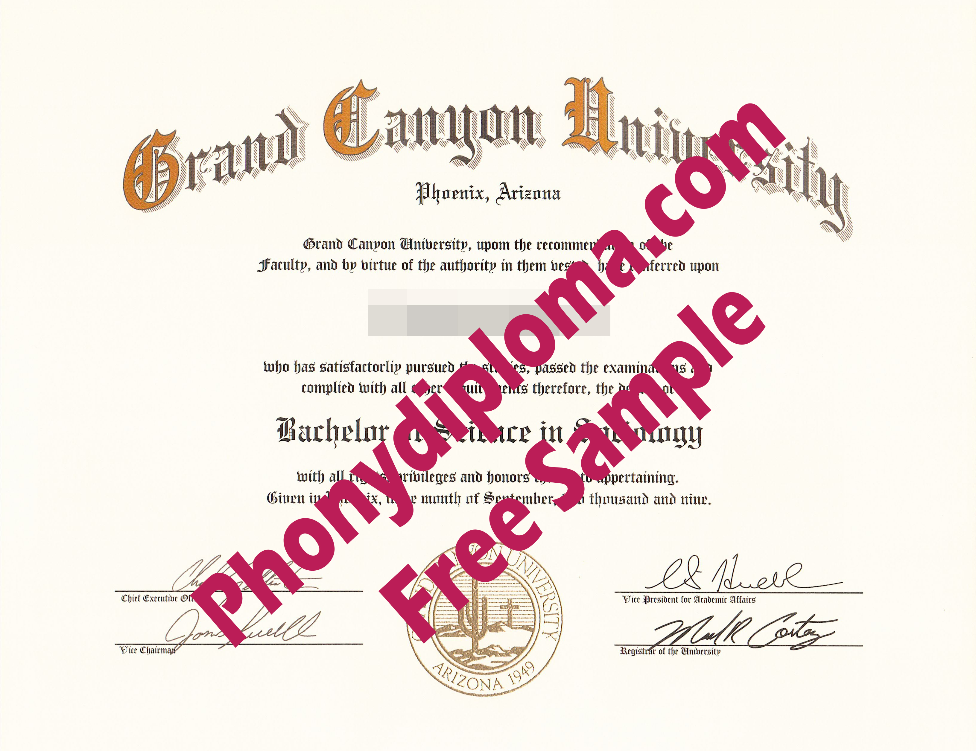Grand Canyon University Free Sample From Phonydiploma