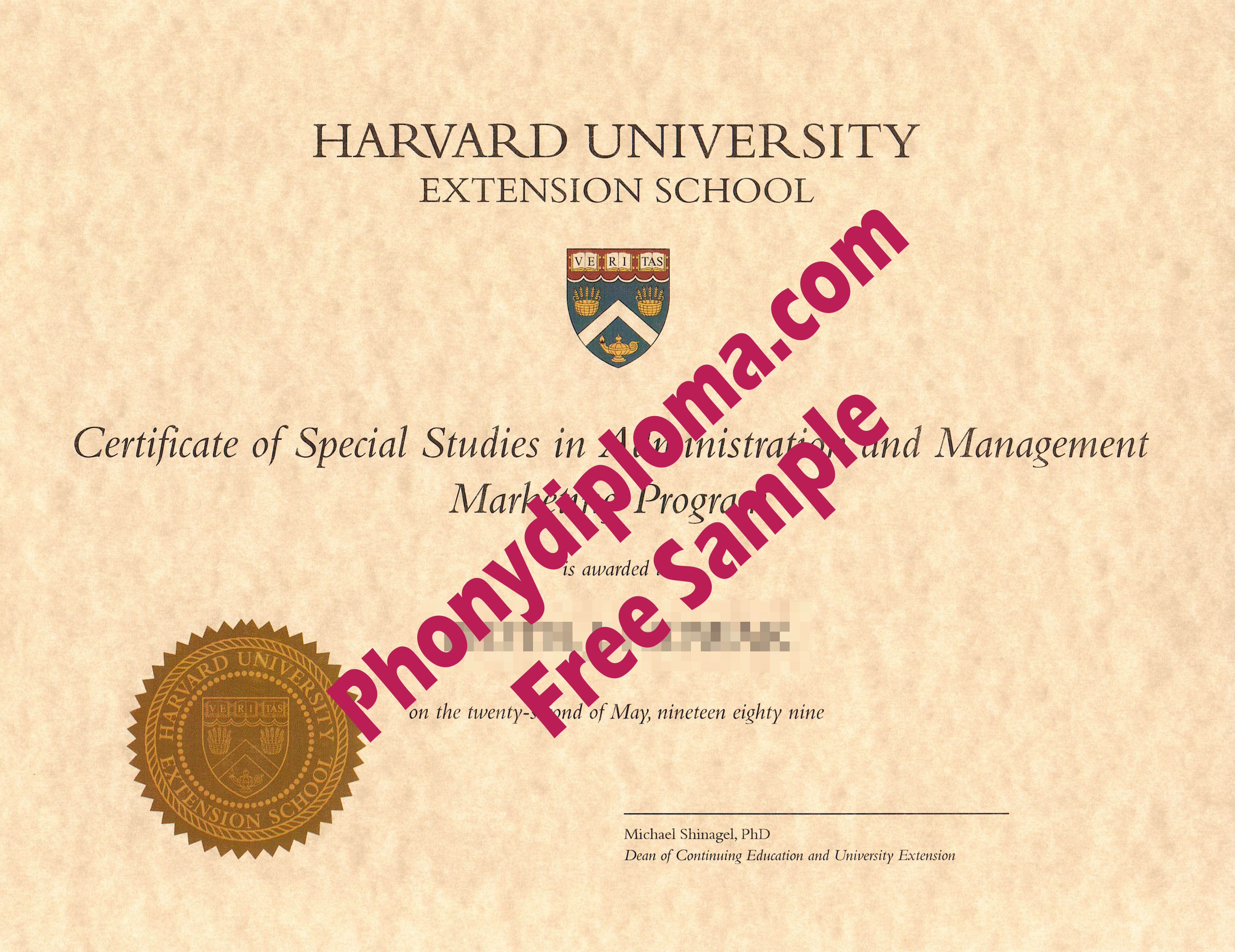 Harvard University Extension Free Sample From Phonydiploma