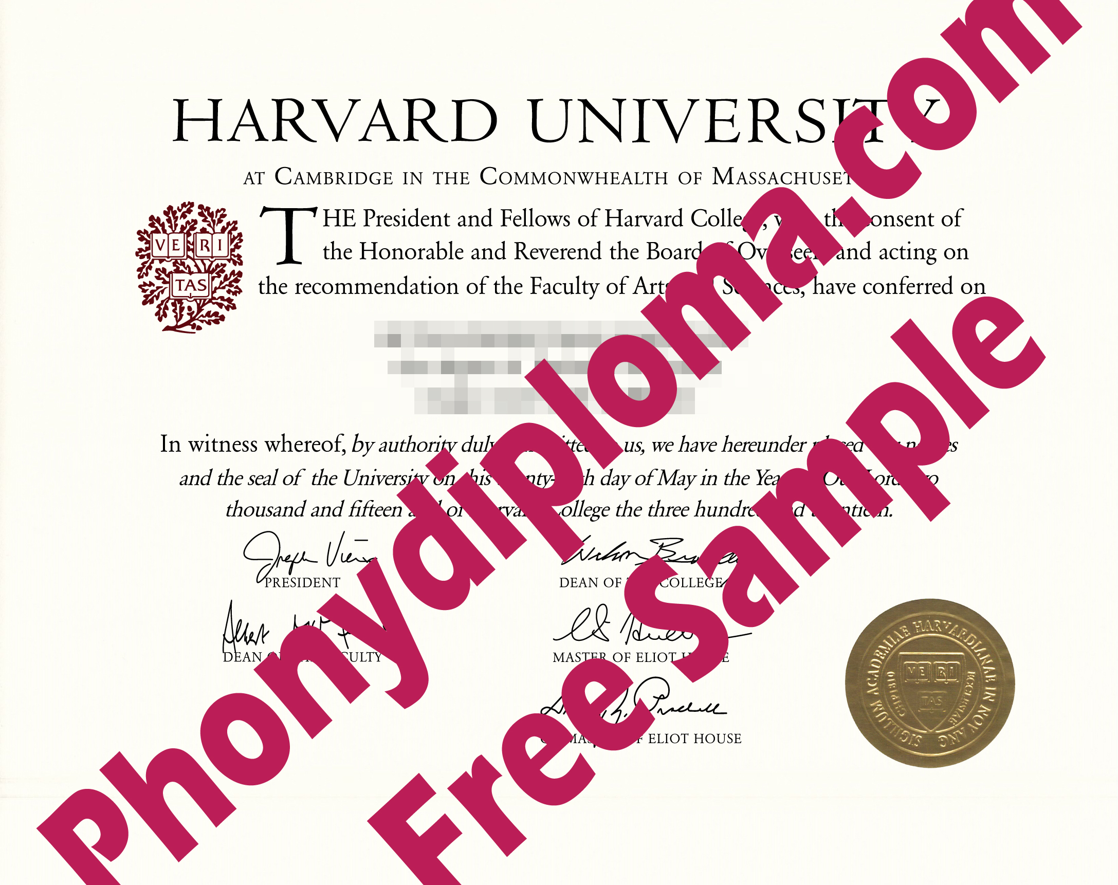 Harvard University Free Sample From Phonydiploma (2)